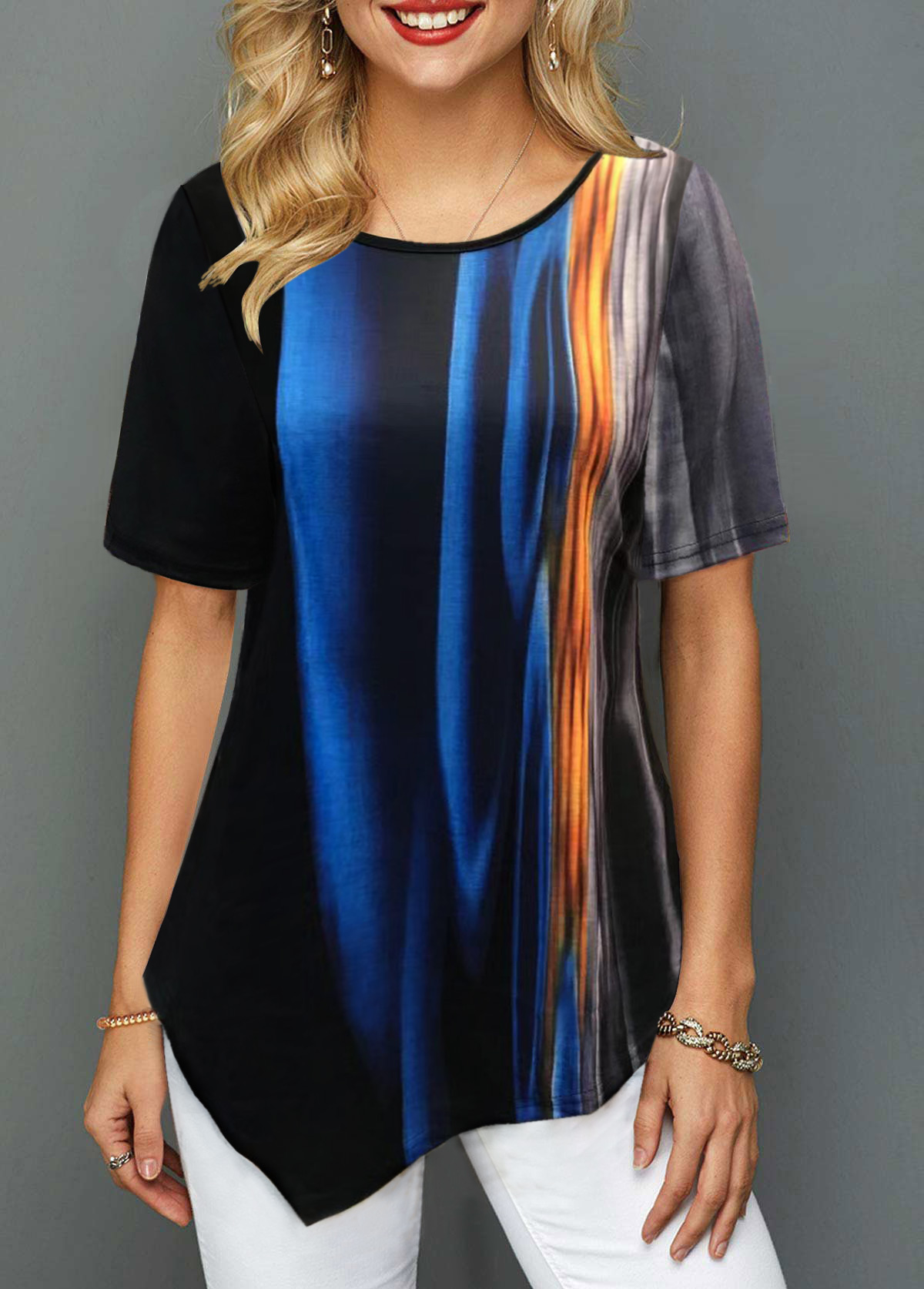 ROTITA Abstract Print Asymmetric Hem Round Neck T Shirt