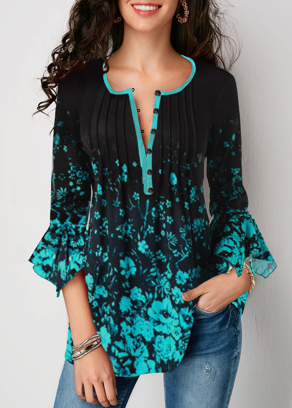 Button Front Printed Flare Sleeve Blouse