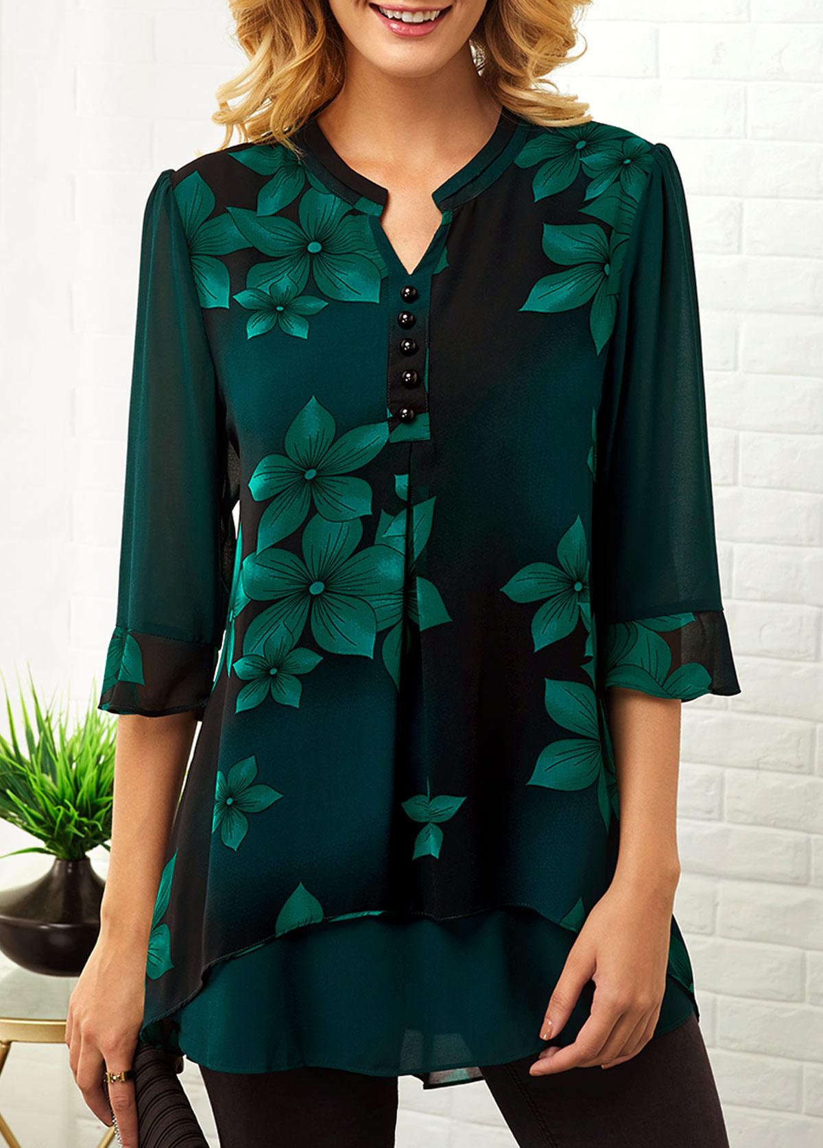 Split Neck Button Detail Large Floral Print Blouse