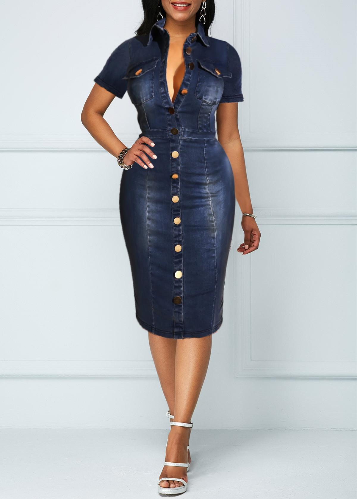 ROTITA Button Up Turndown Collar Chest Pocket Denim Dress