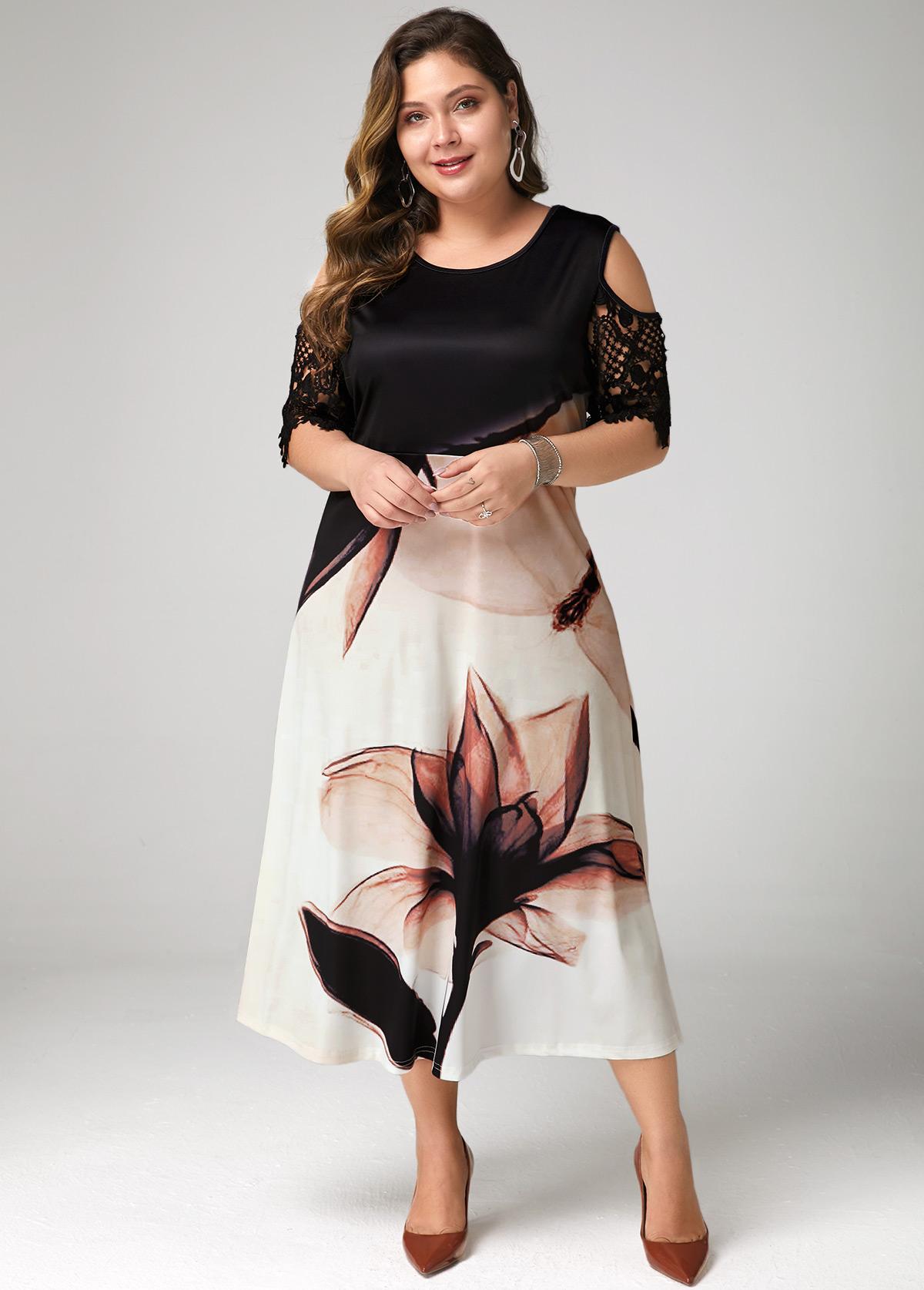 Lotus Print Lace Panel Cold Shoulder Plus Size Dress