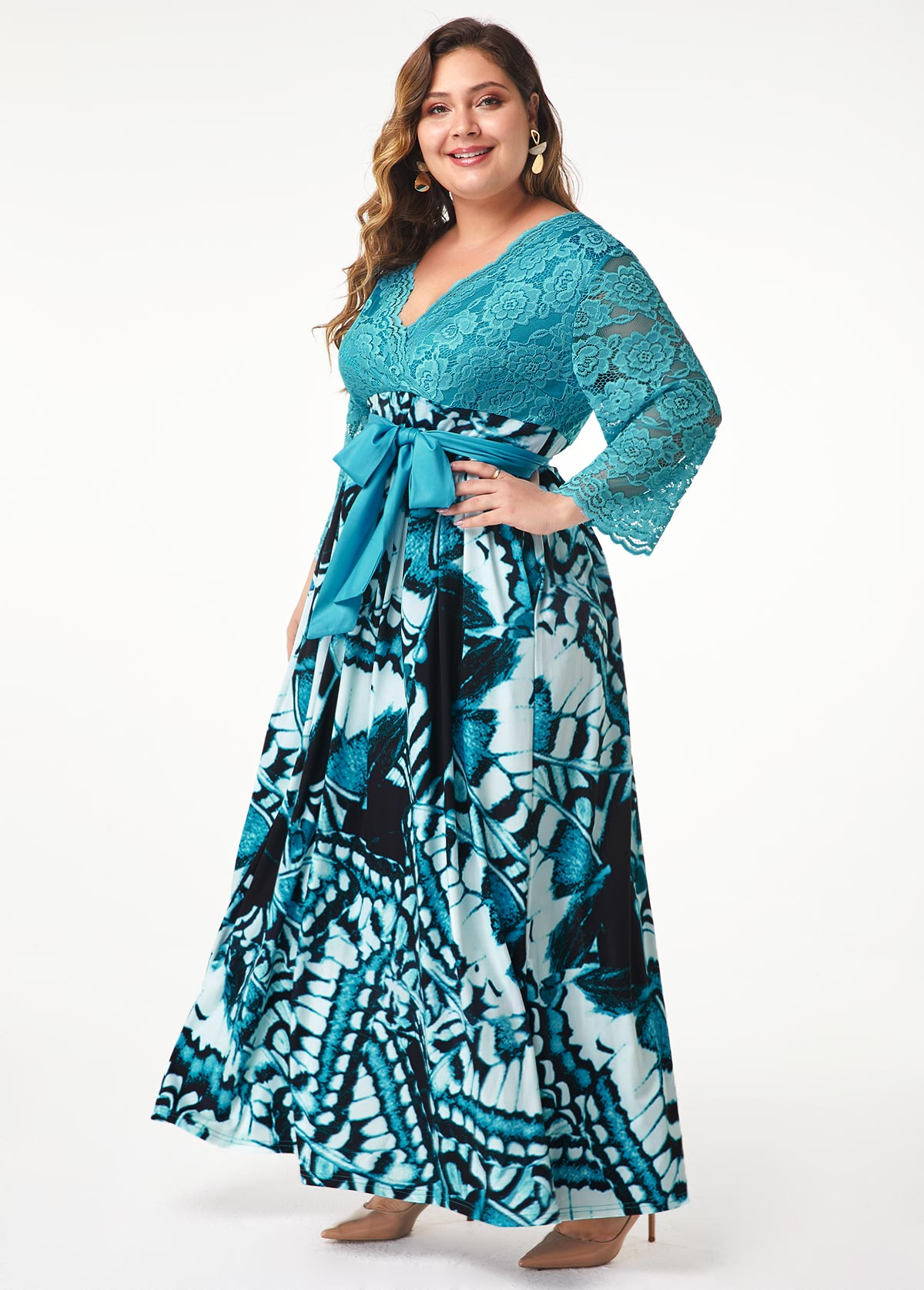 ROTITA Belted Plus Size Lace Panel Printed Maxi Dress