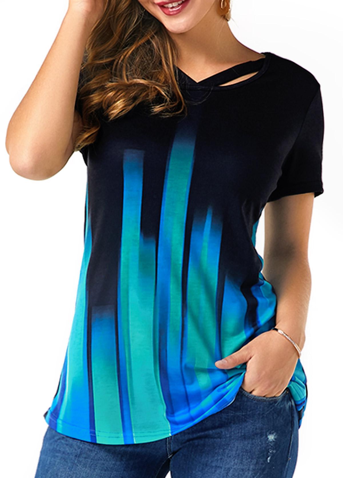 Short Sleeve Gradient Cutout Neckline T Shirt