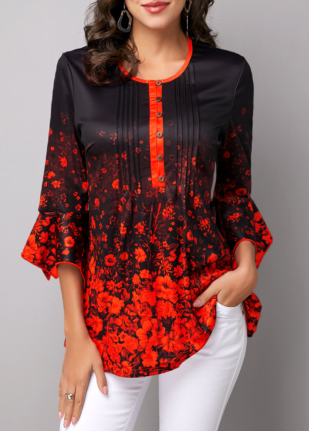 ROTITA Flare Sleeve Button Front Printed Blouse