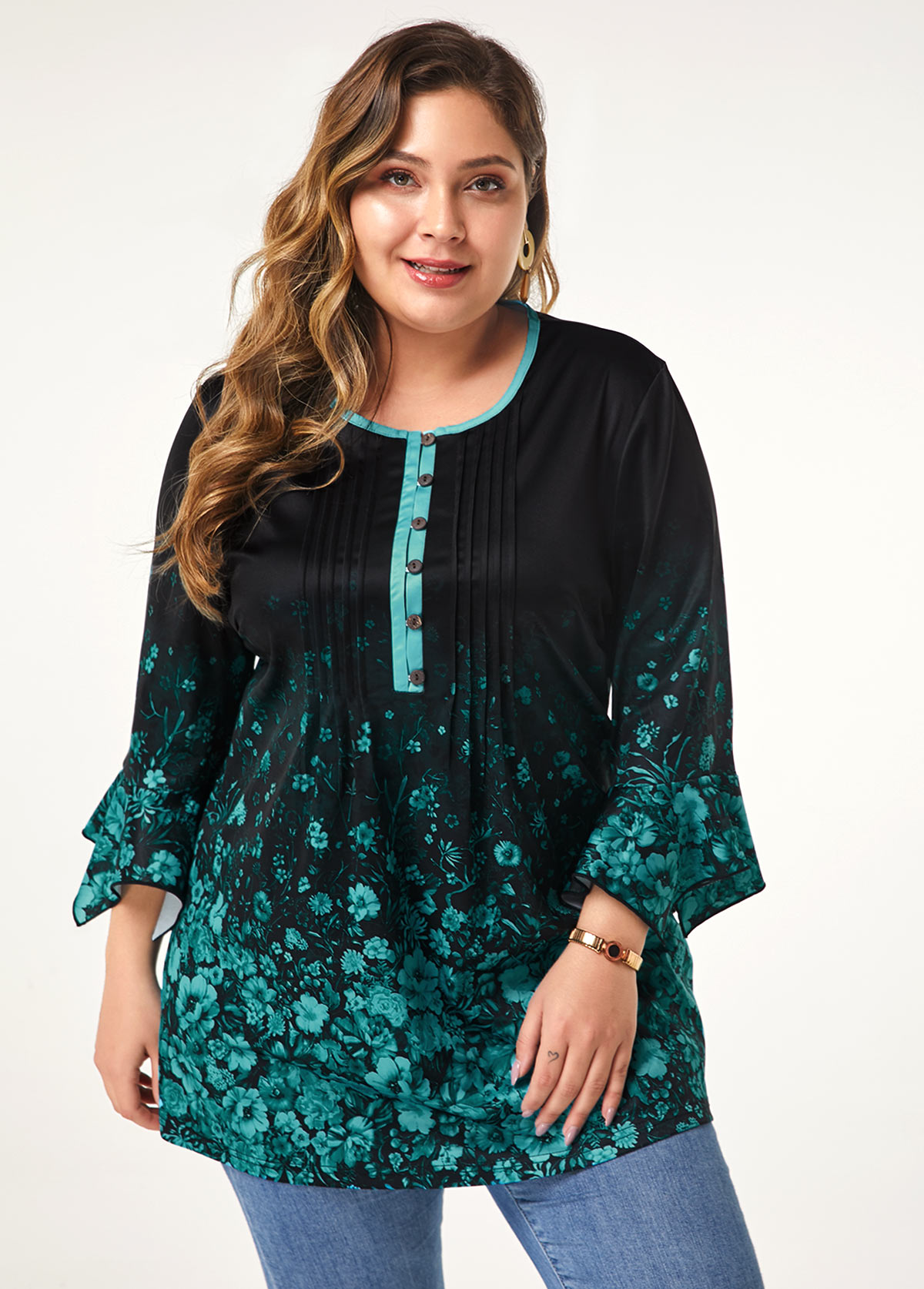 ROTITA Button Front Flower Print Plus Size Blouse
