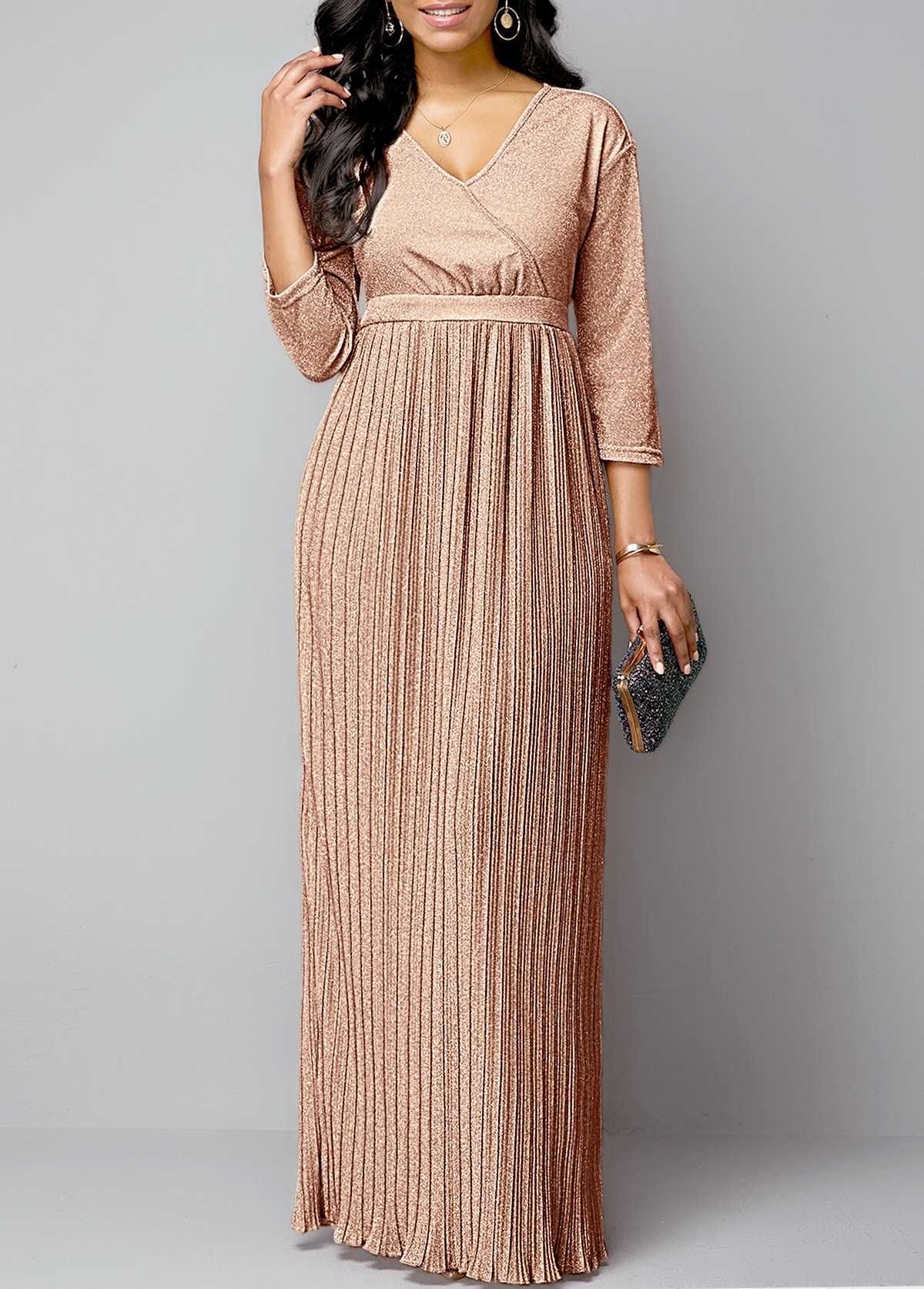 ROTITA Hot Stamping Pleated Hem Plunging Neck Maxi Dress