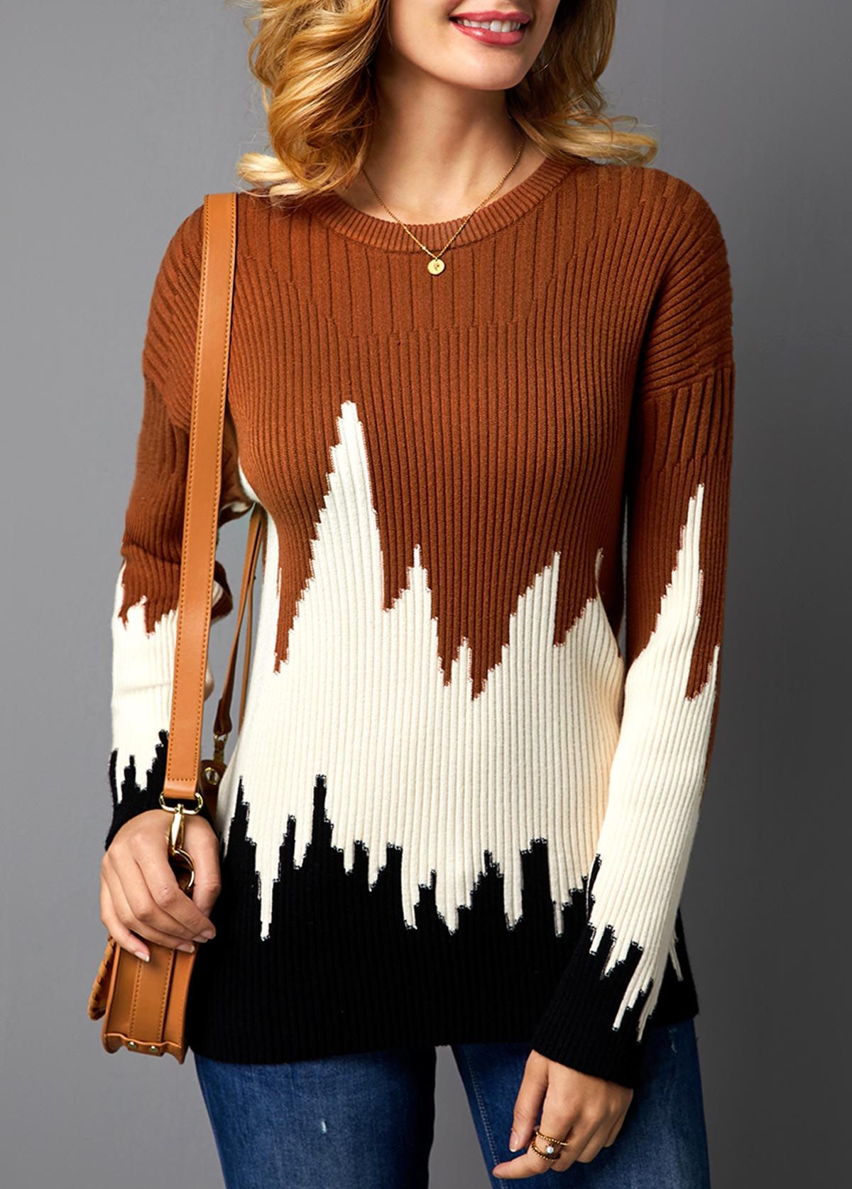 Color Block Pullover Rib Knit Sweater