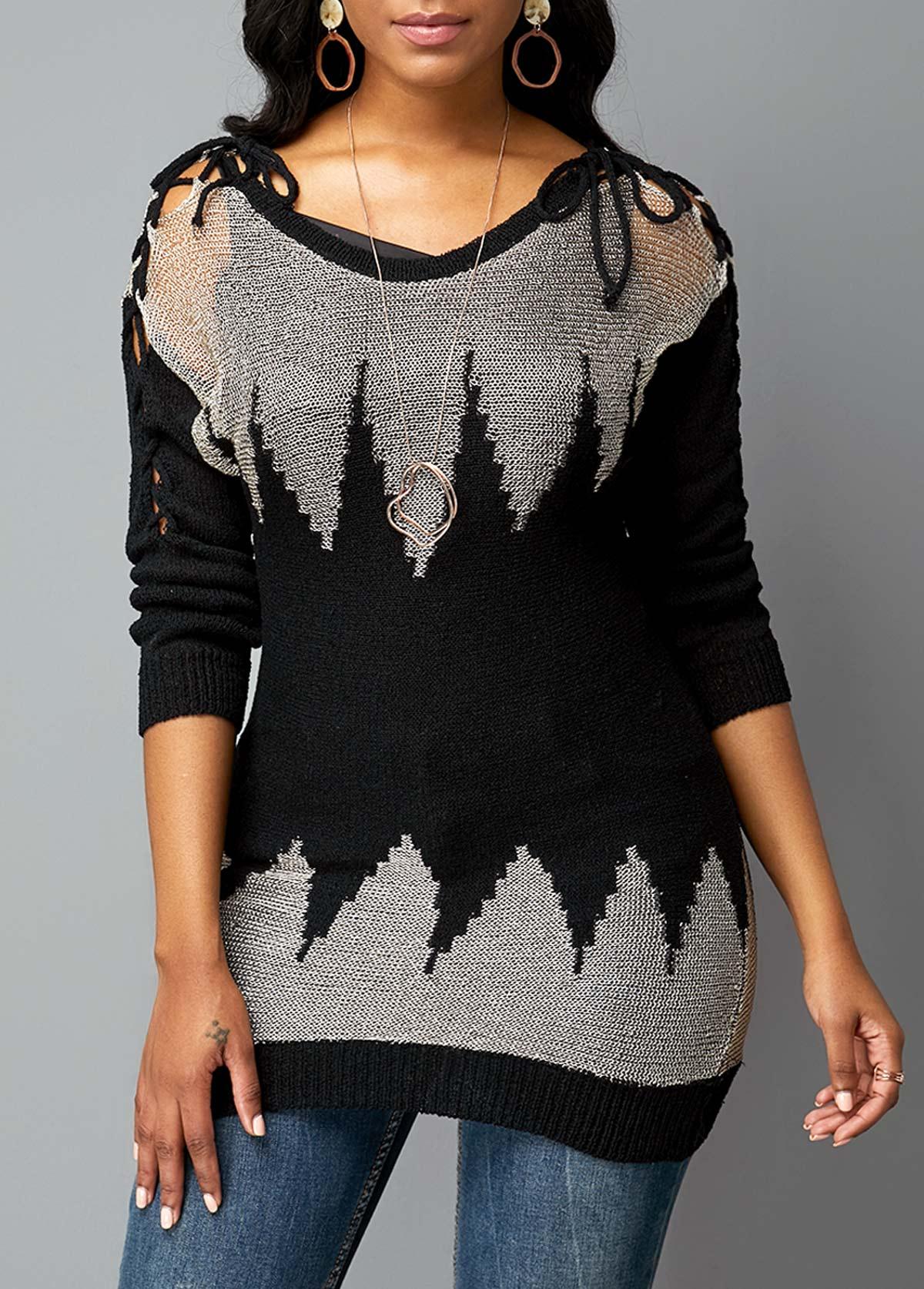 ROTITA Round Neck Geometric Pattern Lace Up Sleeve Sweater