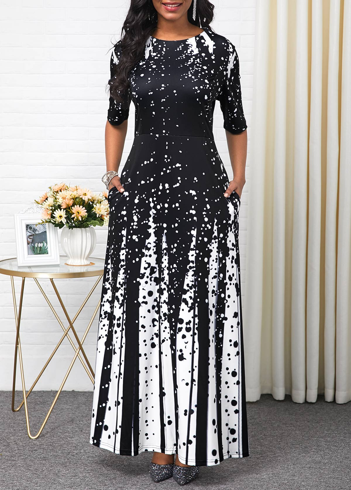 Round Neck Printed Half Sleeve Maxi Dress