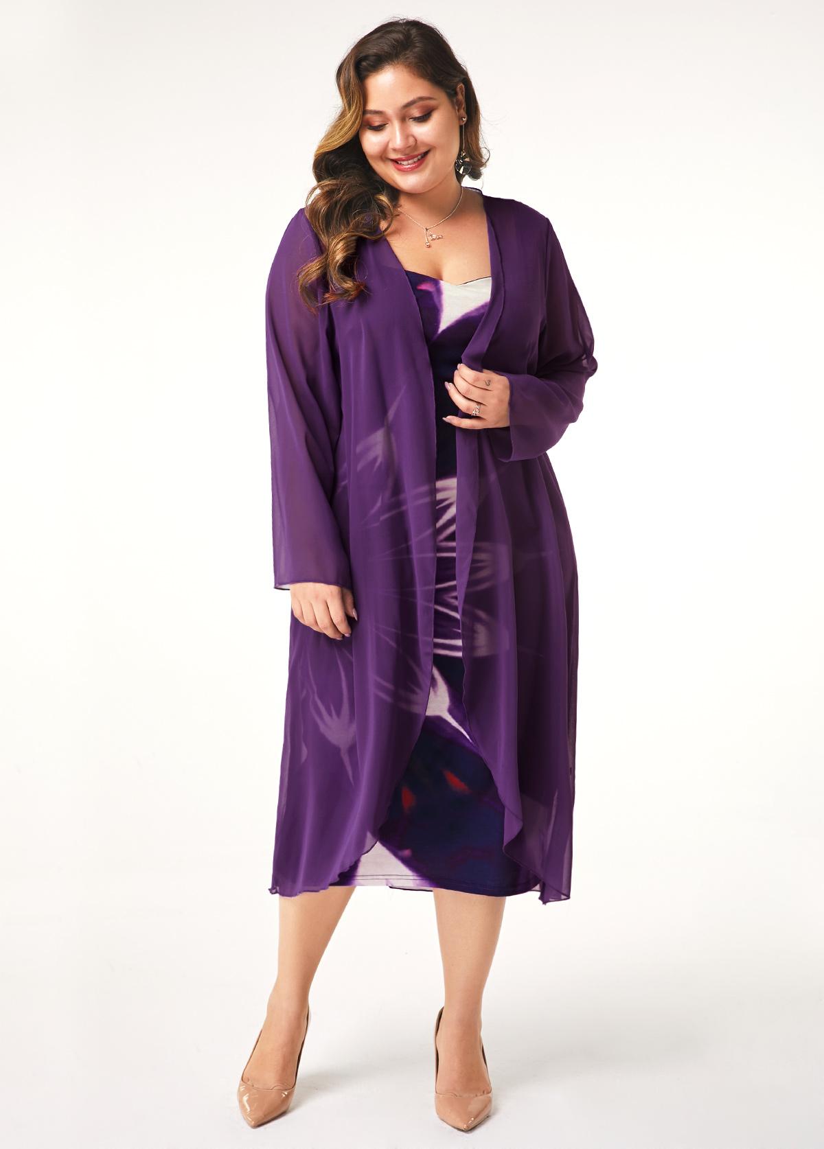 Plus Size Chiffon Cardigan and Printed Dress