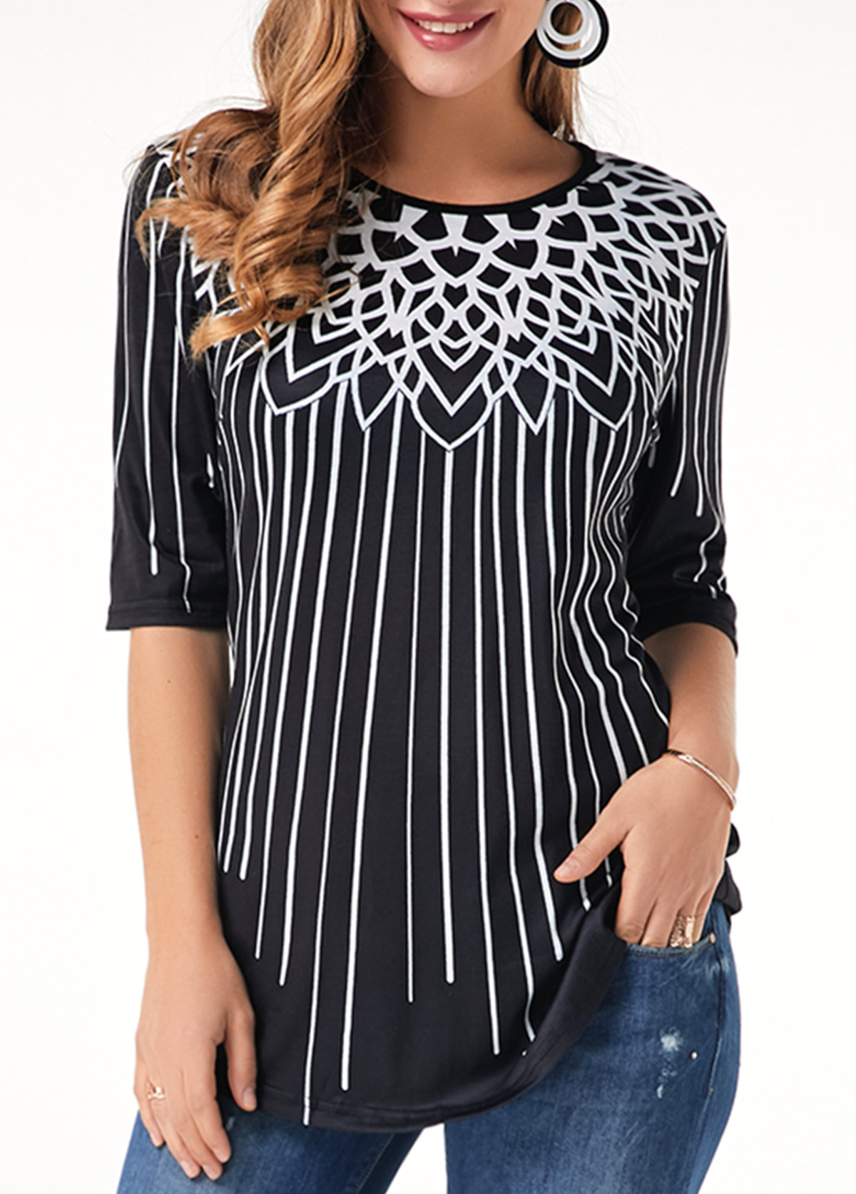 Half Sleeve Round Neck Printed T Shirt