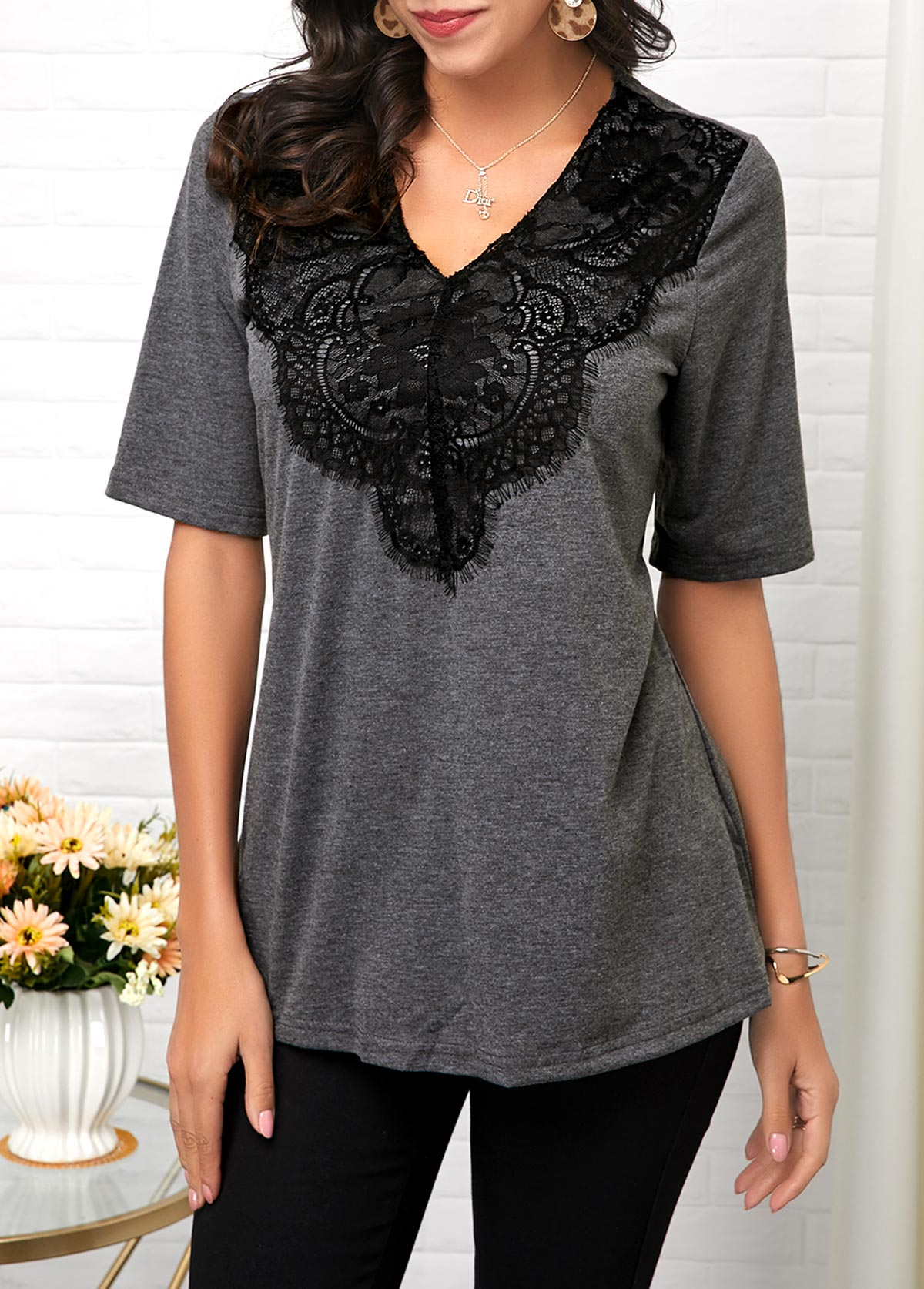 ROTITA Lace Panel V Neck Half Sleeve T Shirt