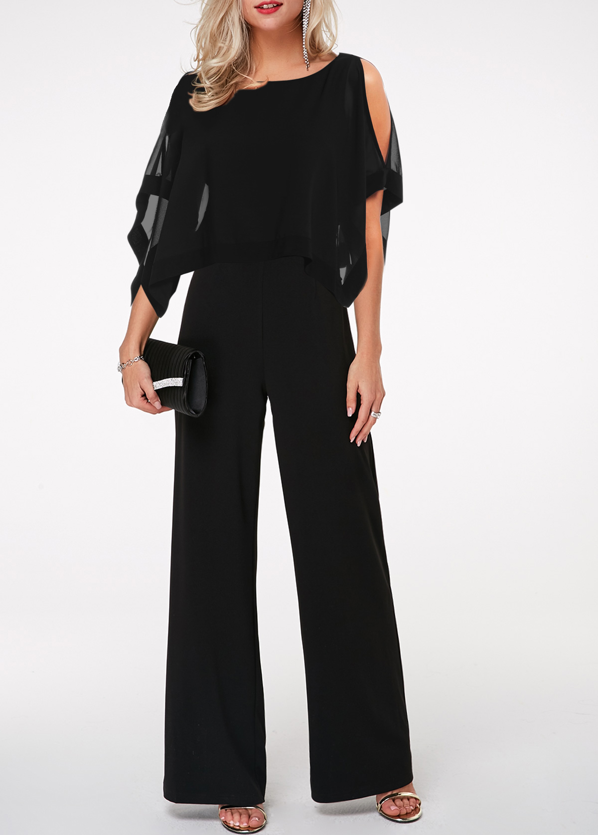 Three Quarter Sleeve Cape Shoulder Black Jumpsuit
