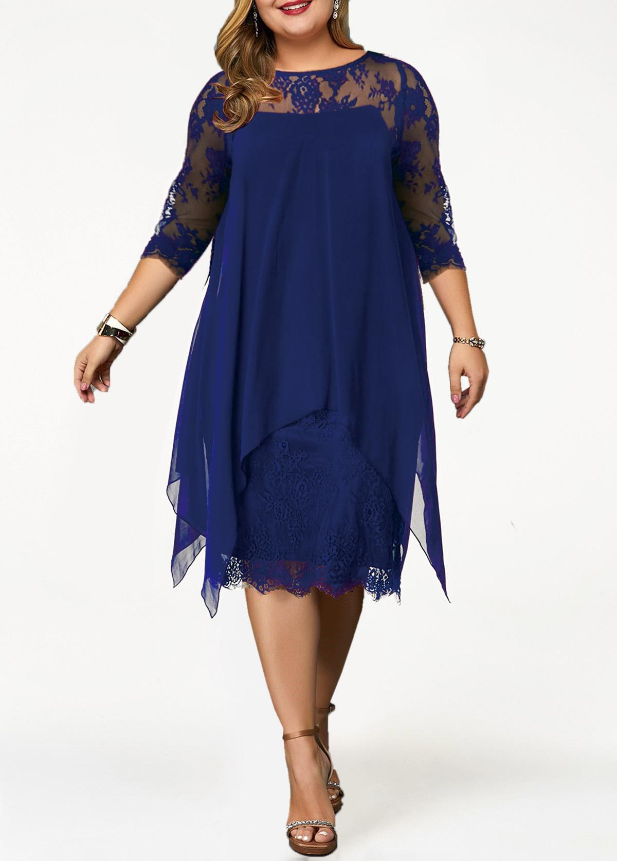 ROTITA Chiffon Overlay Lace Panel Plus Size Dress