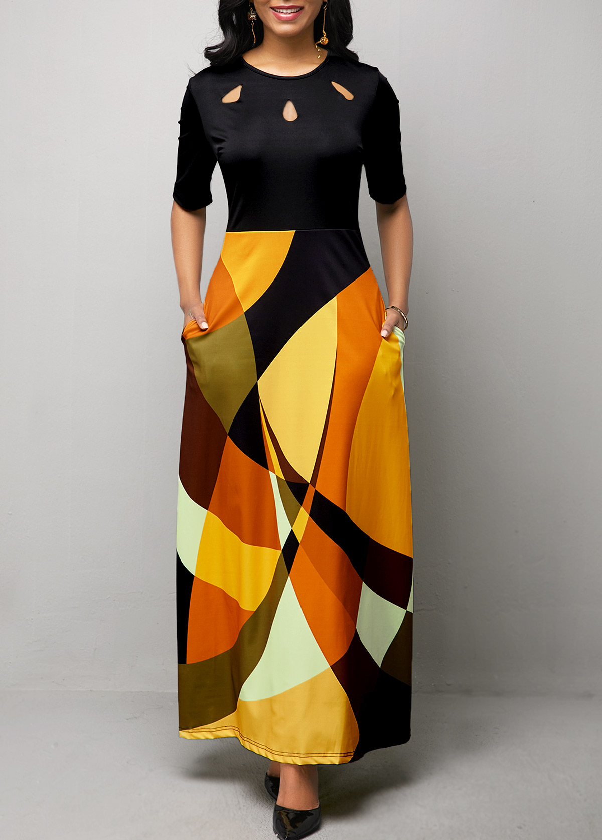 Half Sleeve Geometric Print Pocket Maxi Dress