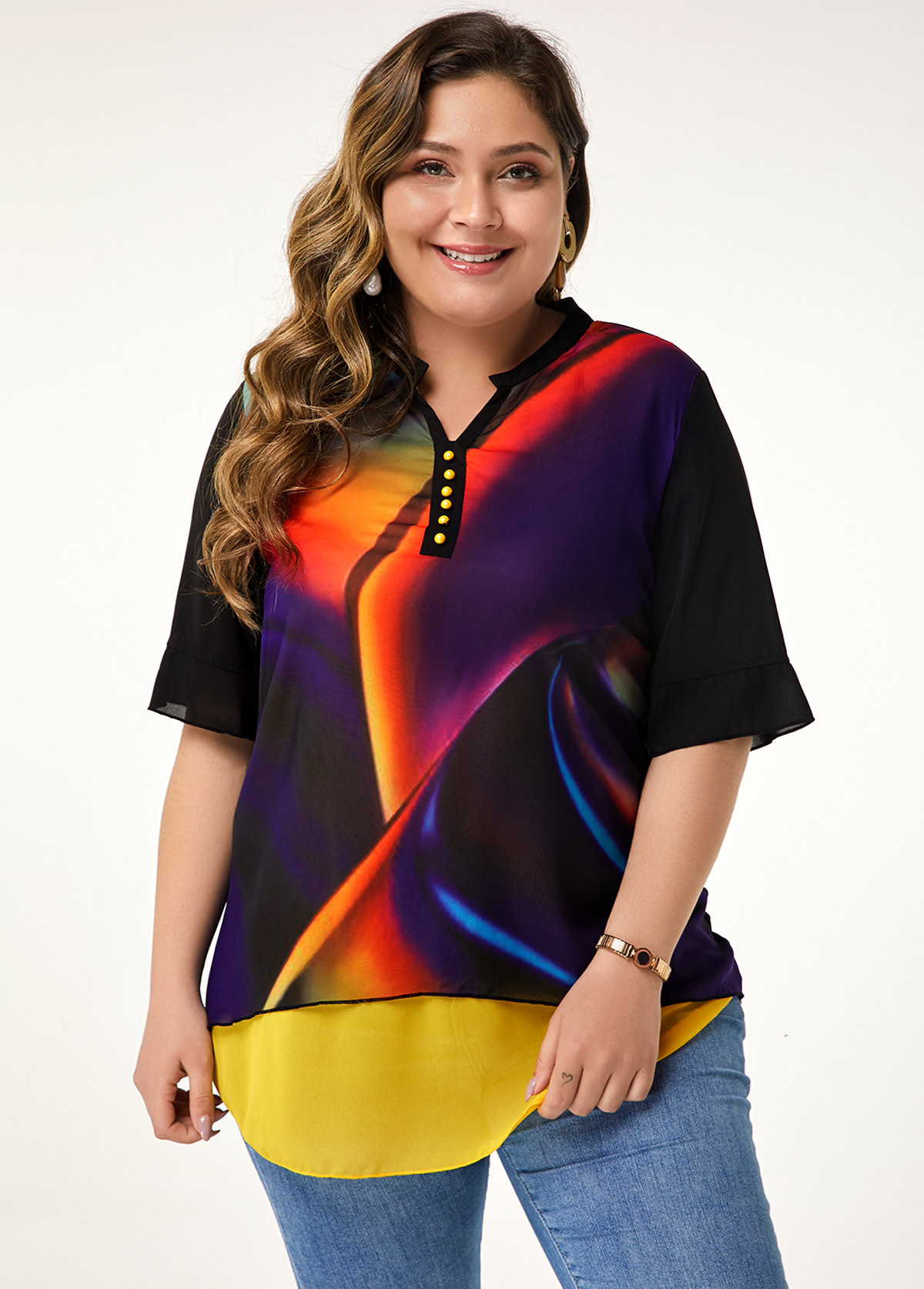 ROTITA Plus Size Button Detail Split Neck Printed Blouse