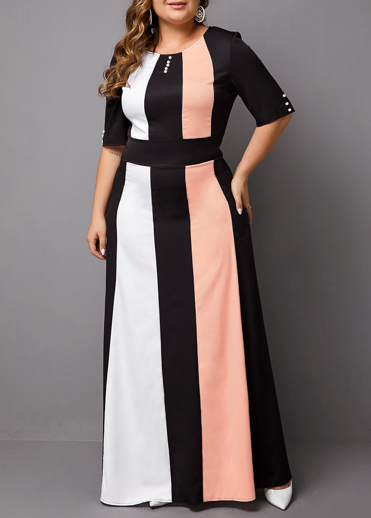 ROTITA Plus Size Half Sleeve Color Block Maxi Dress