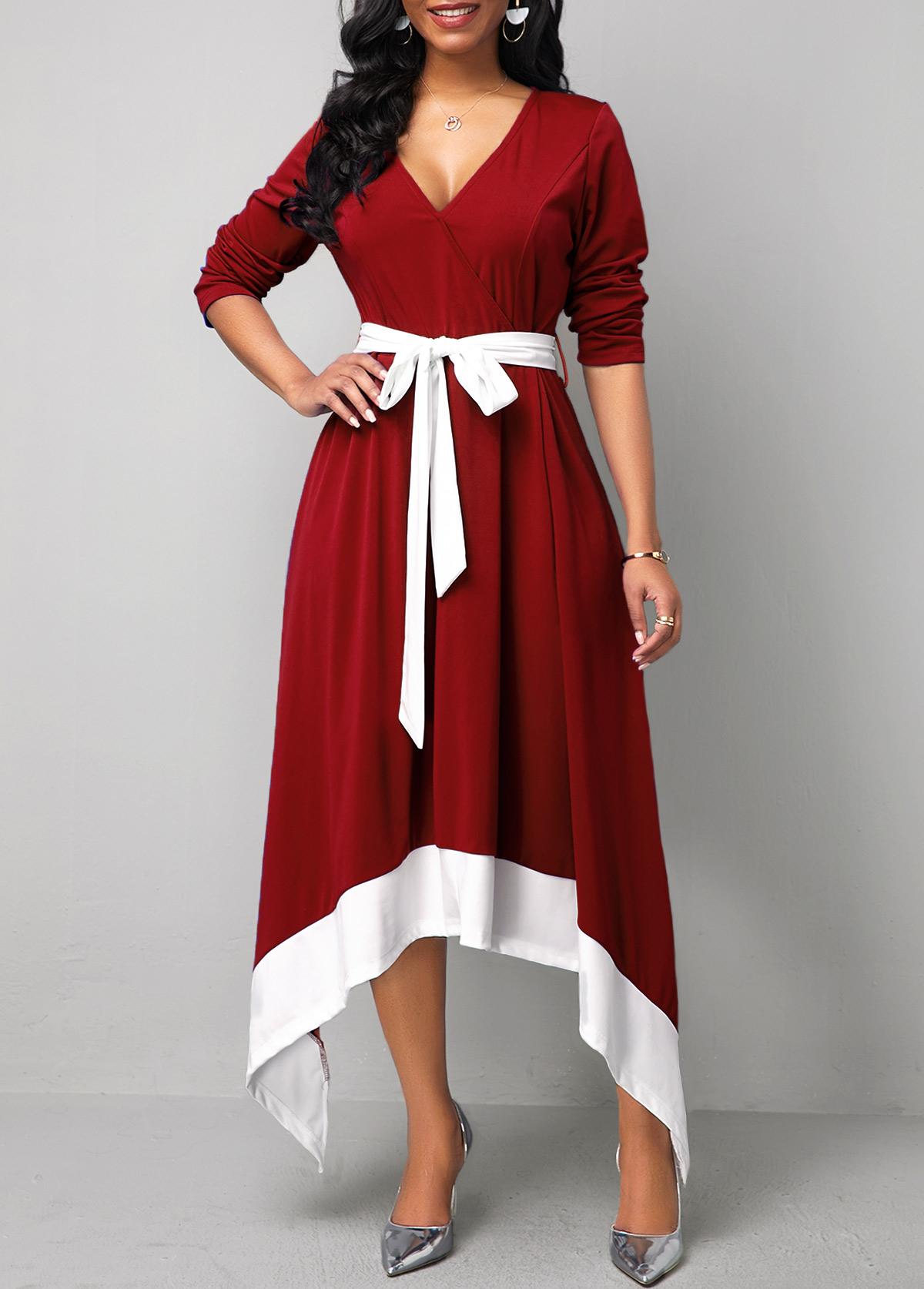 ROTITA Belted Asymmetric Hem Long Sleeve Maxi Dress