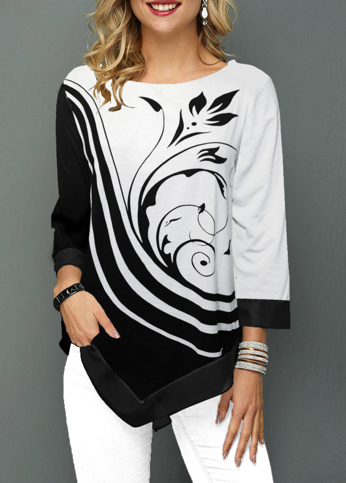Asymmetric Hem Three Quarter Sleeve Flower Print T Shirt