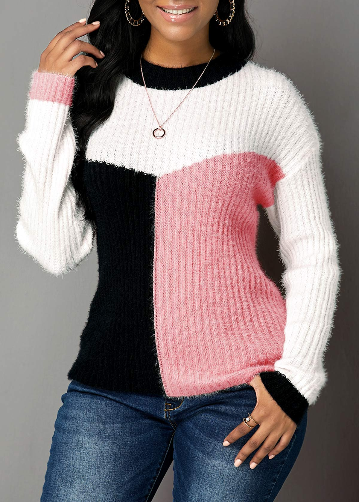 Long Sleeve Pink Round Neck Sweater