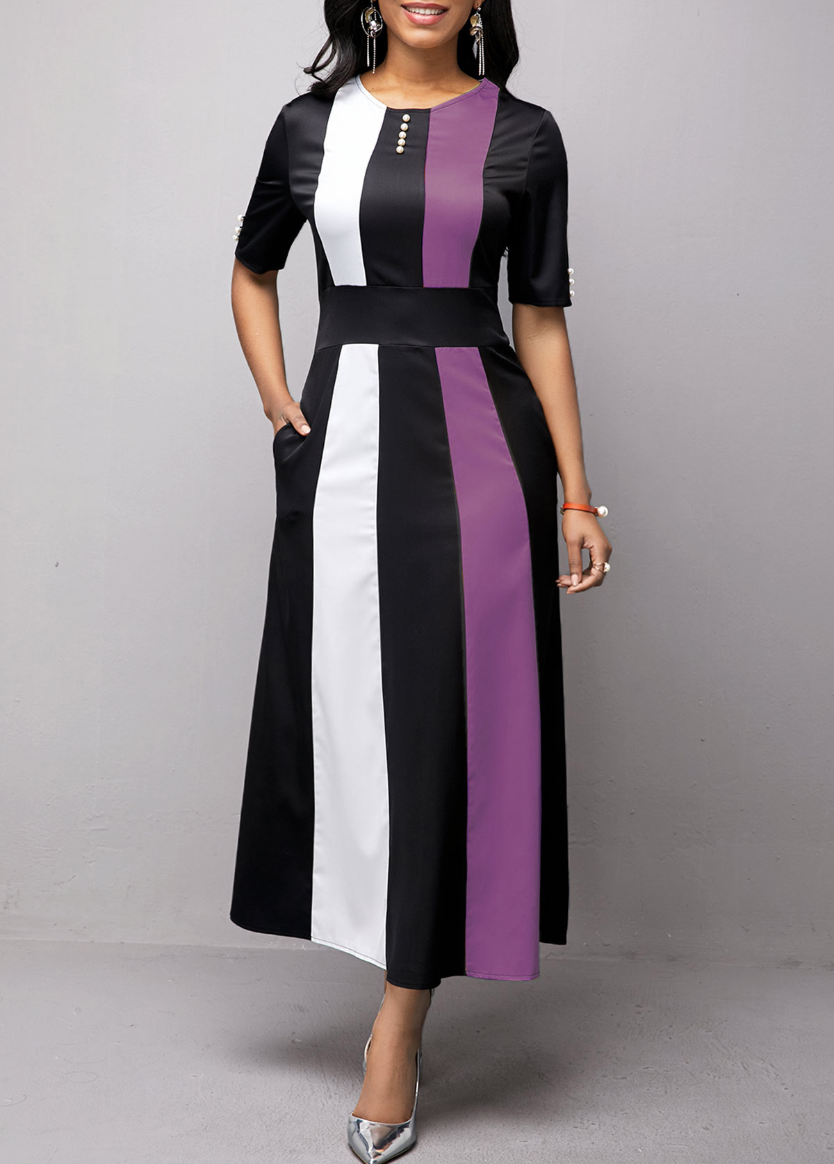 ROTITA Button Detail Round Neck Half Sleeve Maxi Dress