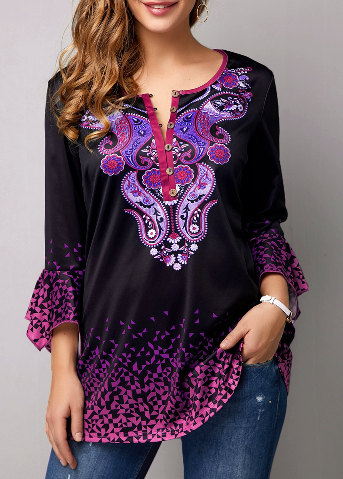 Flare Cuff Tribal Print Gradient Blouse