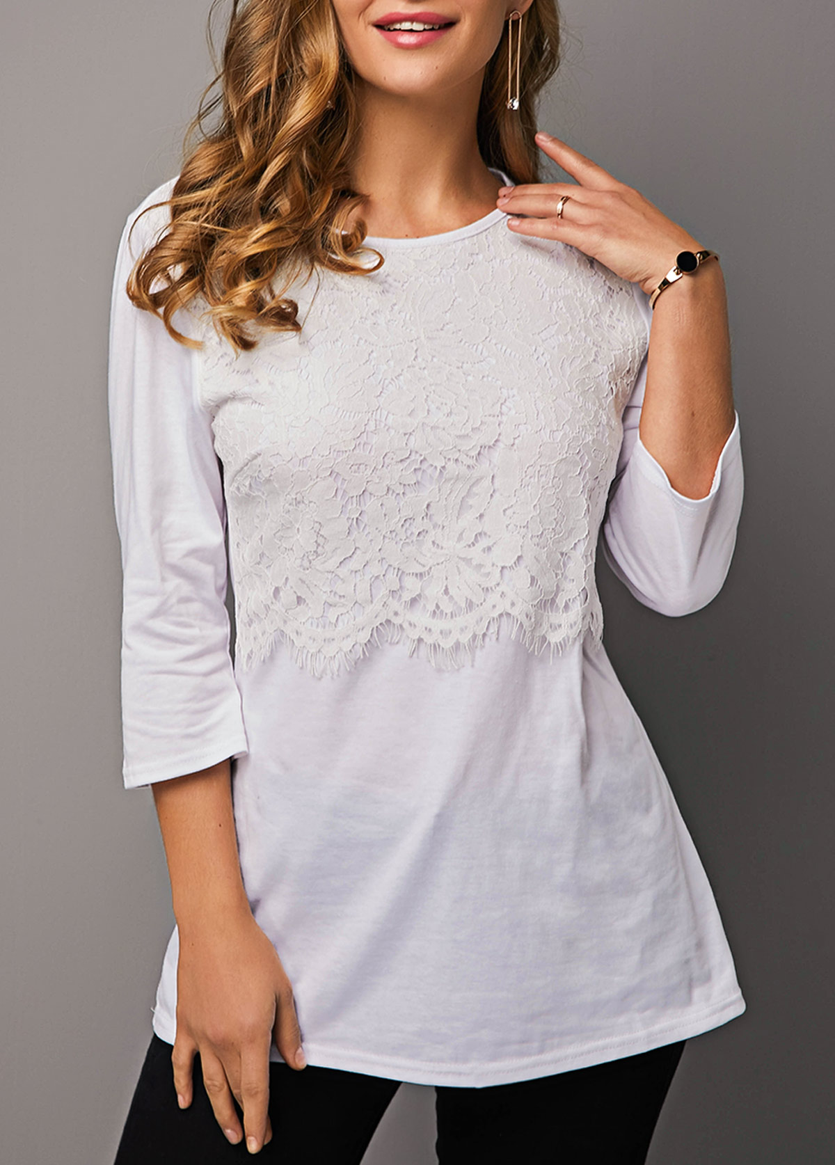 ROTITA Round Neck Lace Panel White T Shirt