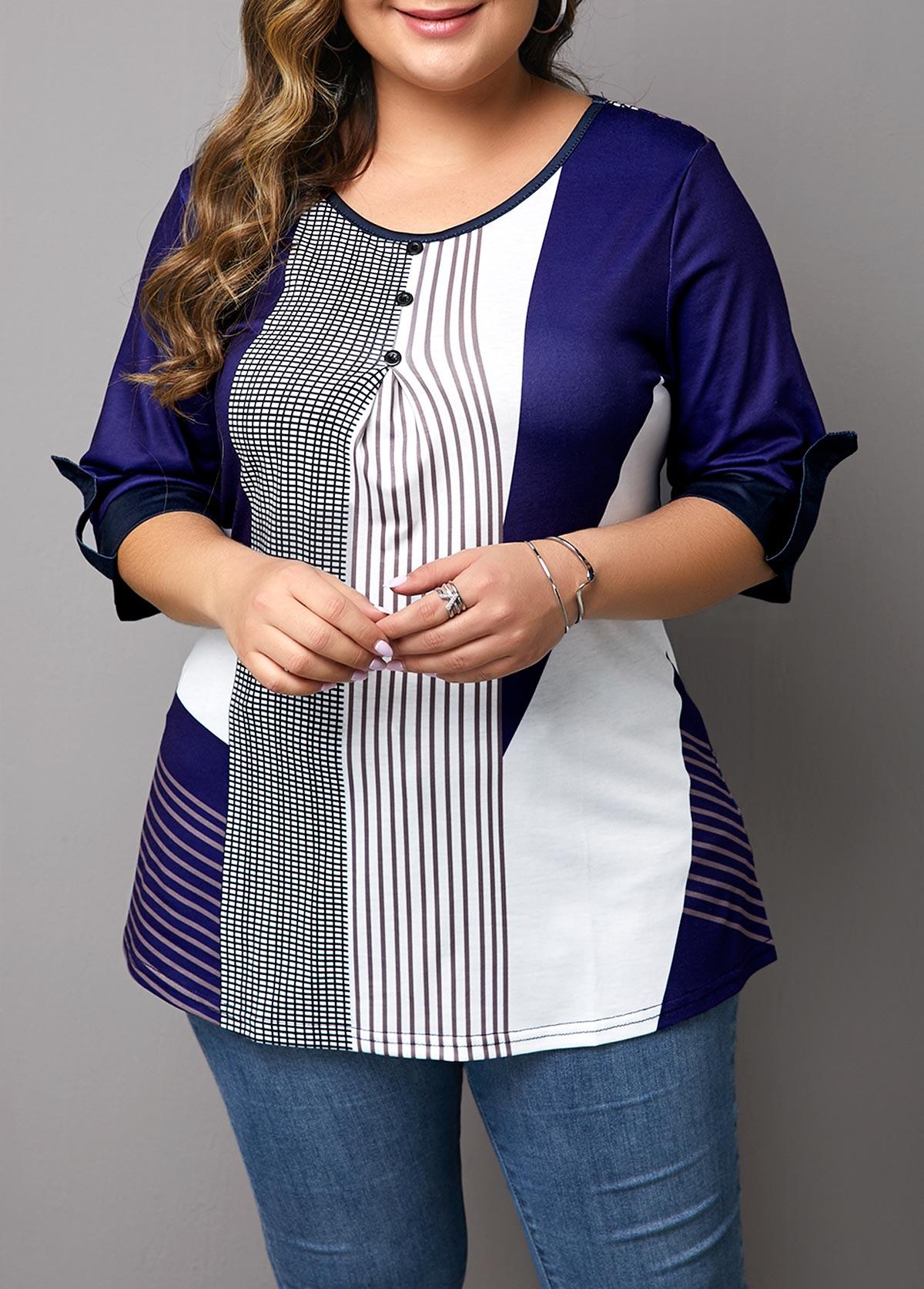 ROTITA Plus Size Button Detail Stripe Print T Shirt