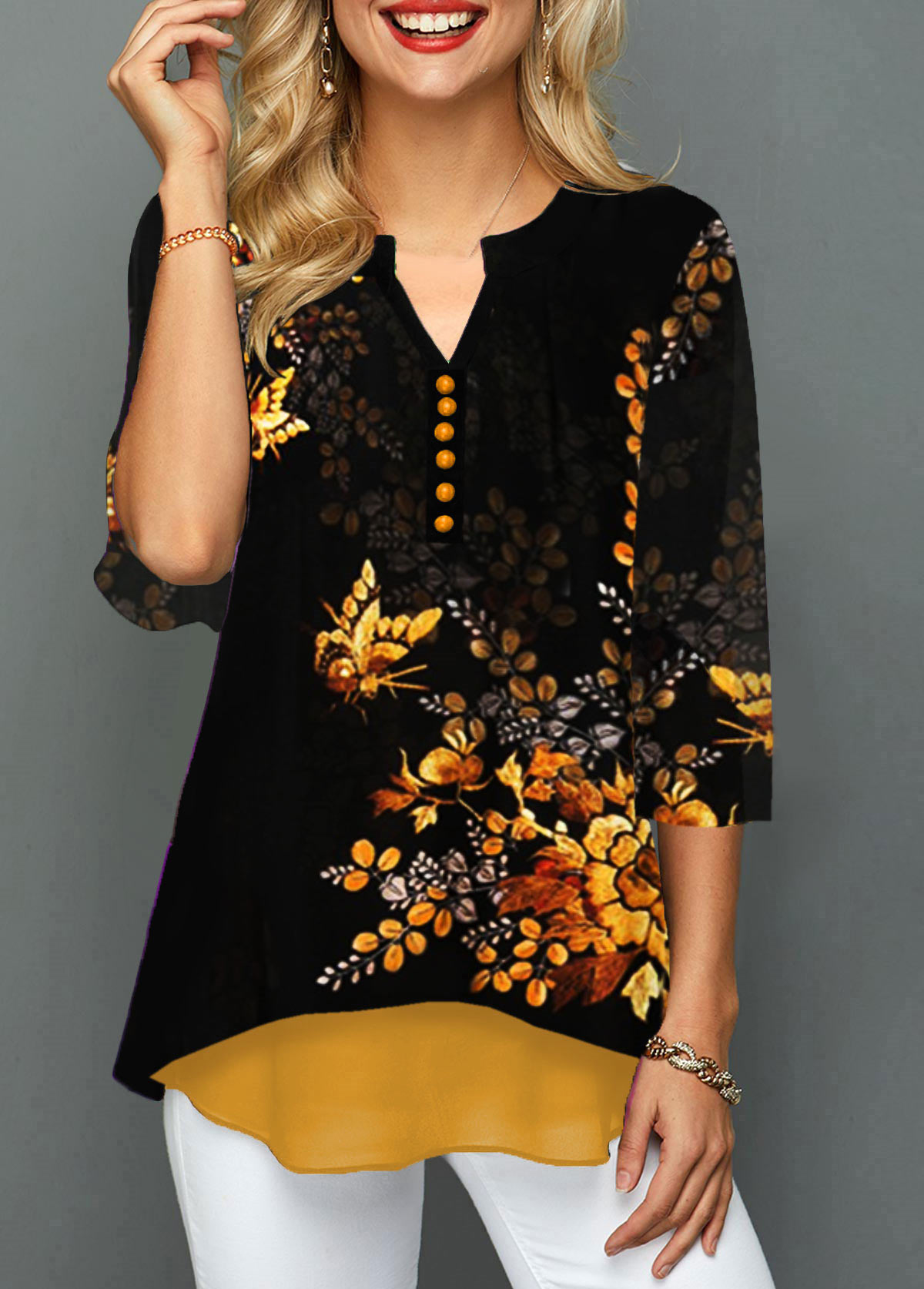 Split Neck Button Detail Flower Print Blouse