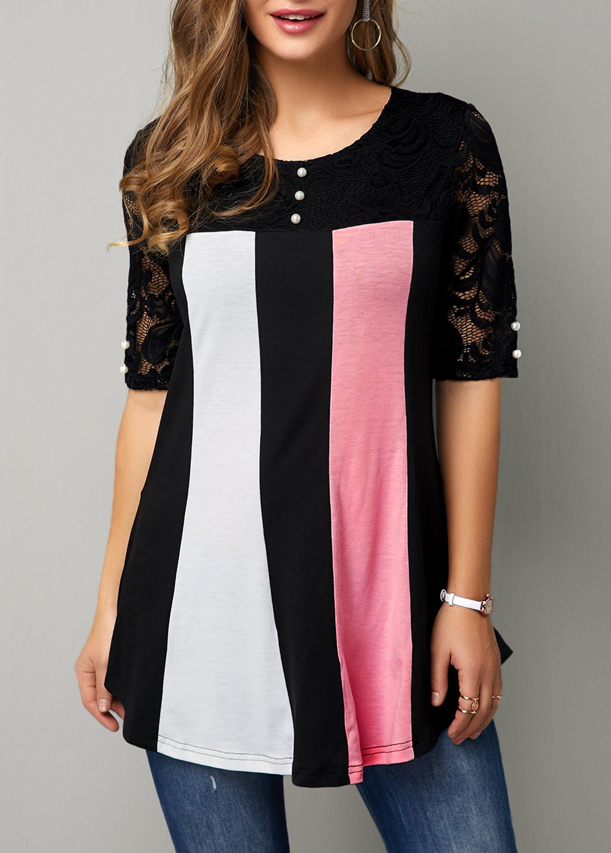 Button Detail Lace Patchwork Half Sleeve T Shirt