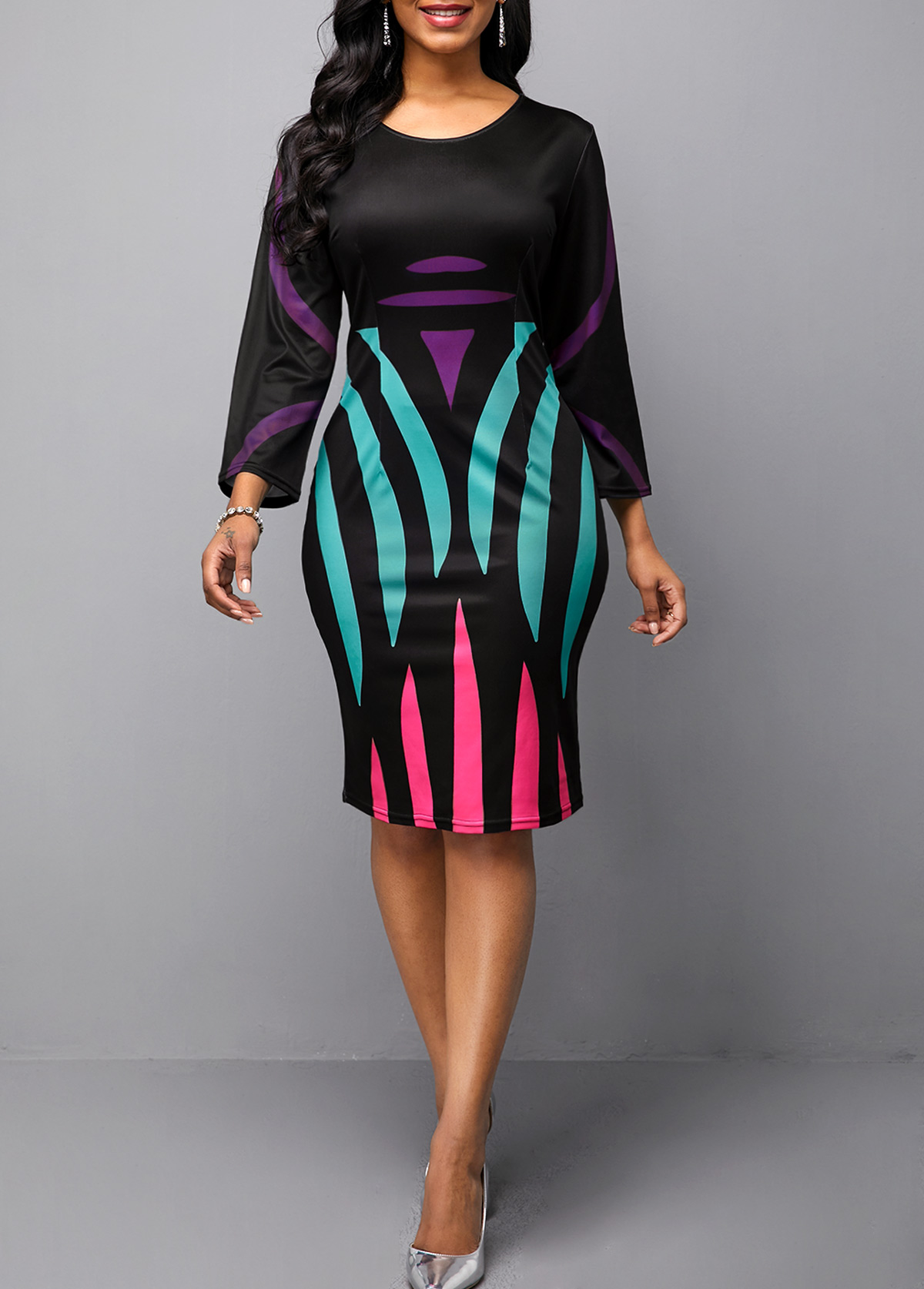 ROTITA Stripe Print V Neck Three Quarter Sleeve Sheath Dress