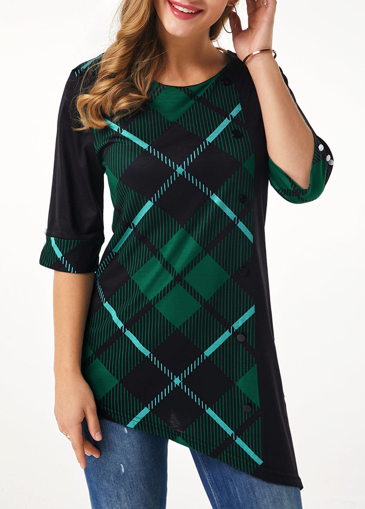 Asymmetric Hem Plaid Print Three Quarter Sleeve T Shirt