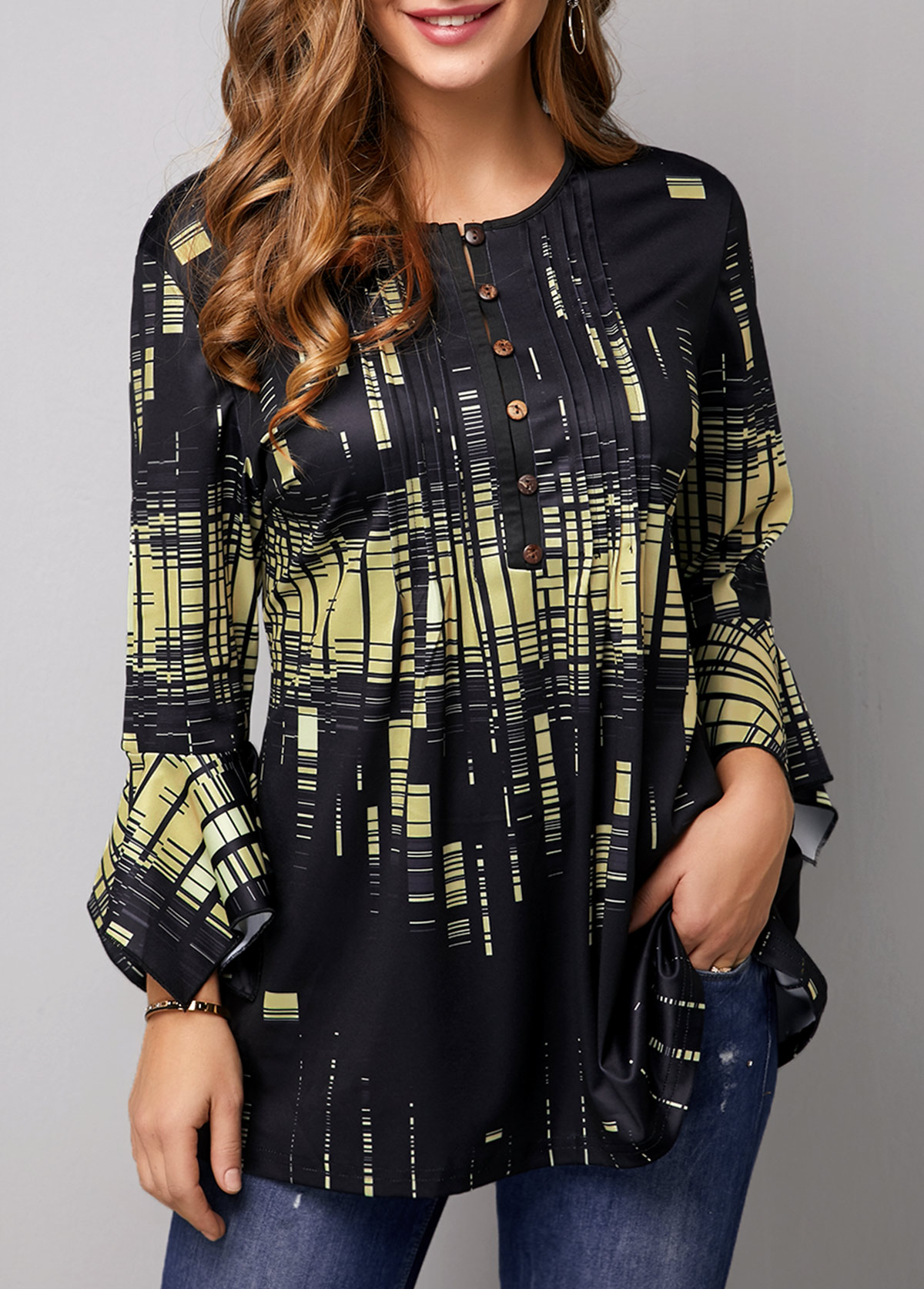 ROTITA Flare Cuff Button Front Printed Blouse