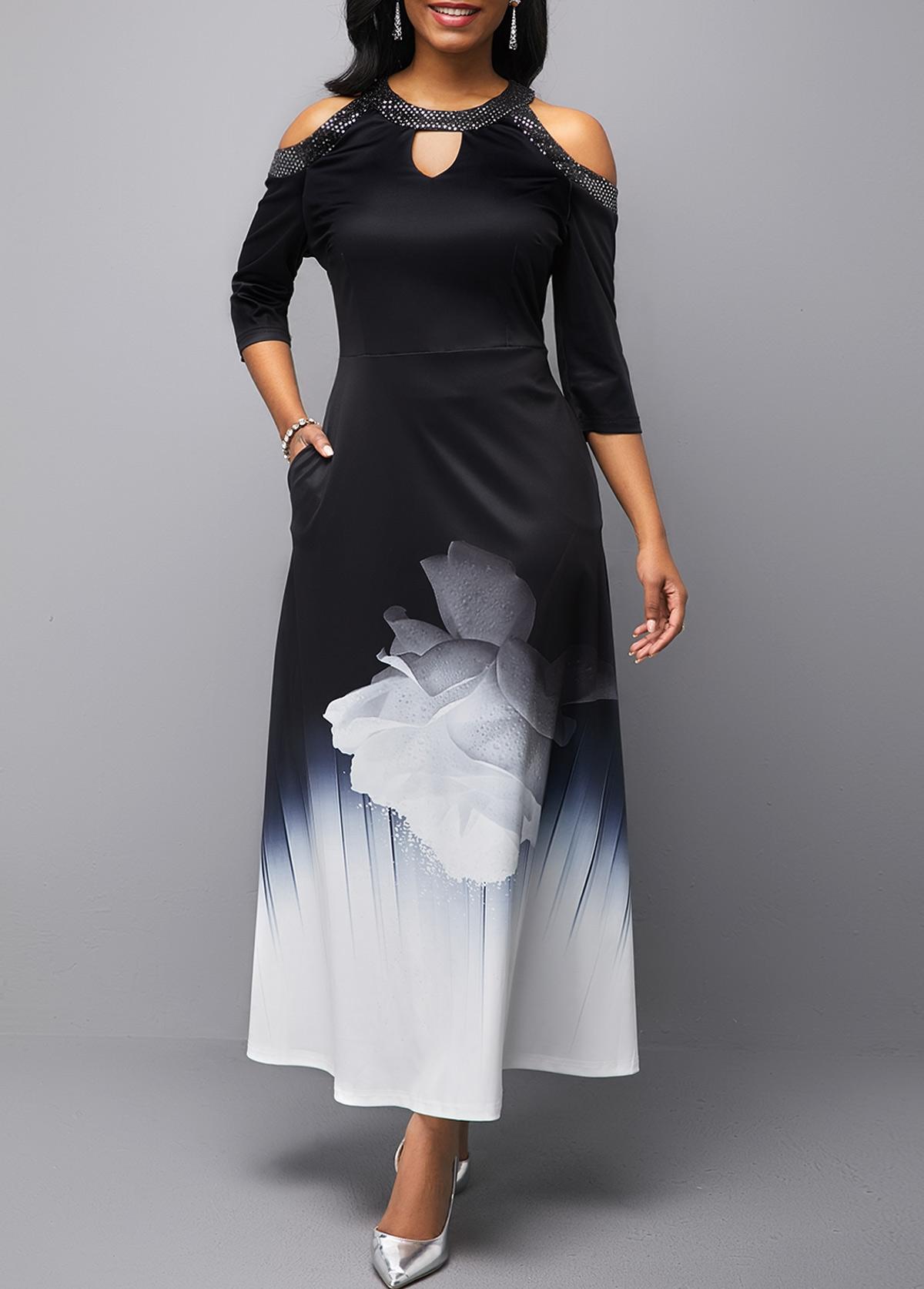 Cold Shoulder Sequin Embellished Printed Maxi Dress