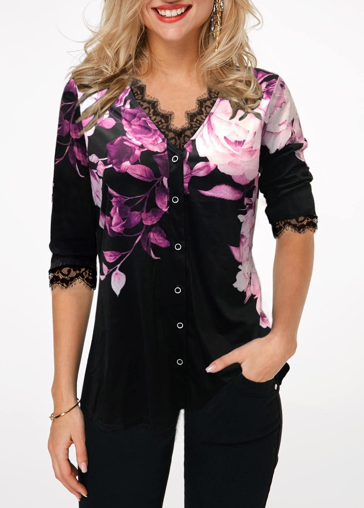 Button Up Flower Print Lace Panel T Shirt