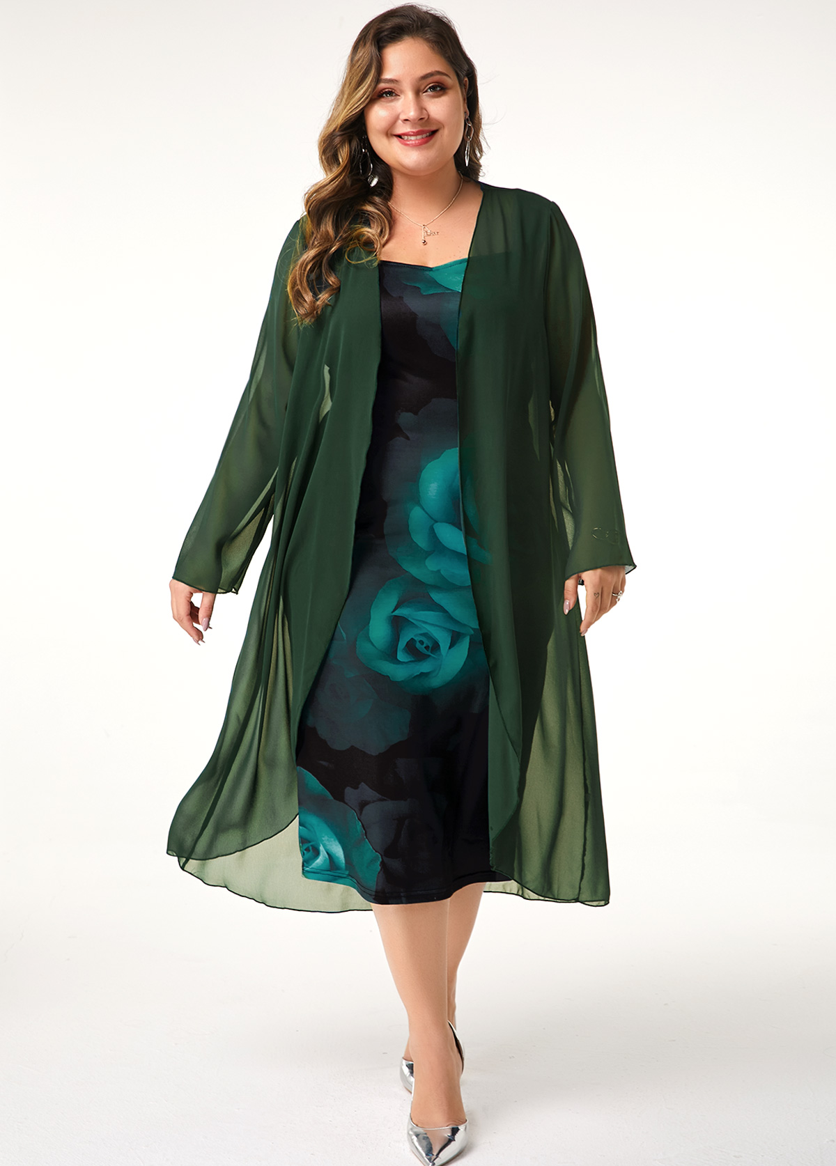 ROTITA Plus Size Chiffon Cardigan and Flower Print Dress