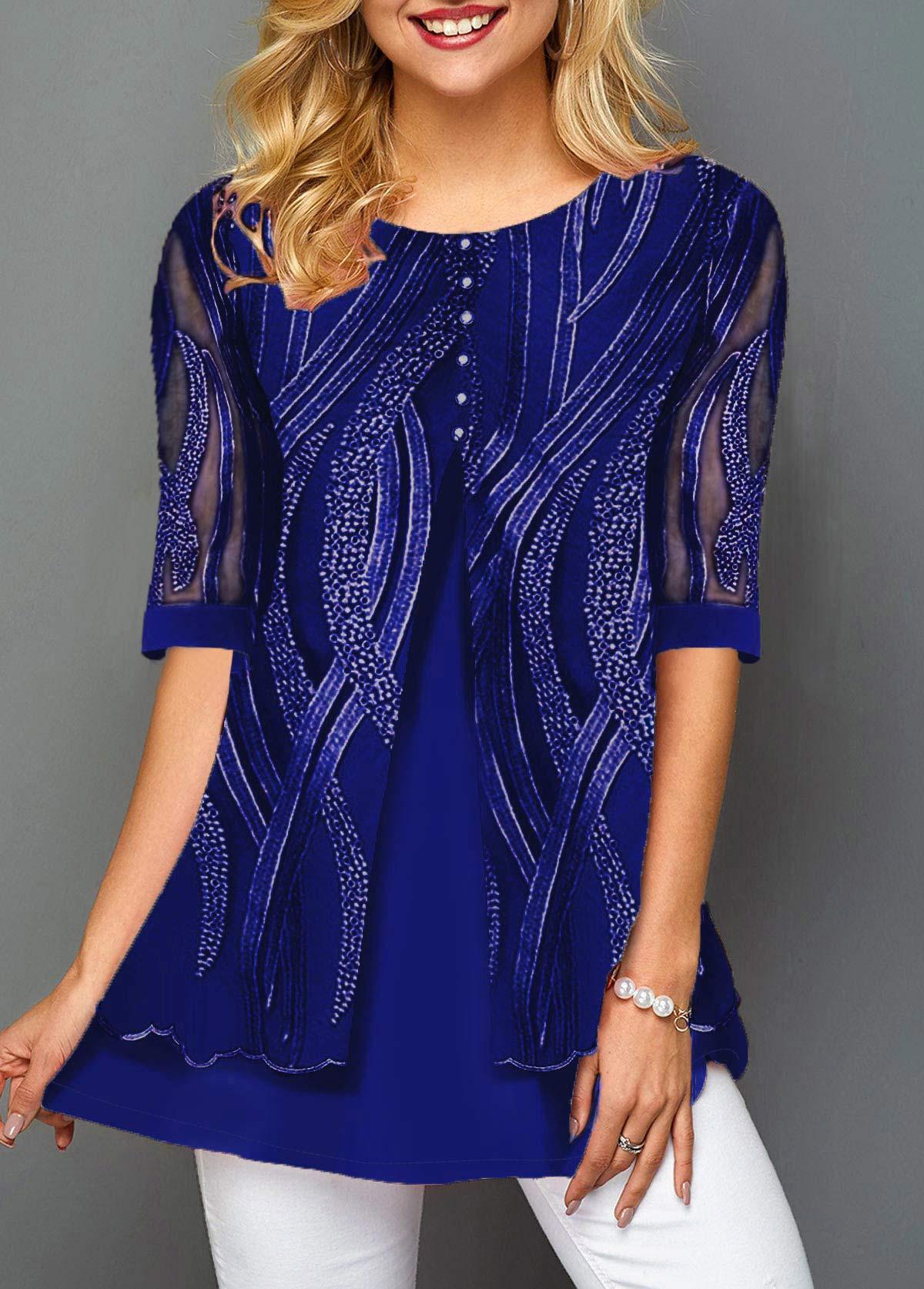 Lace Panel Layered Hem Button Detail T Shirt