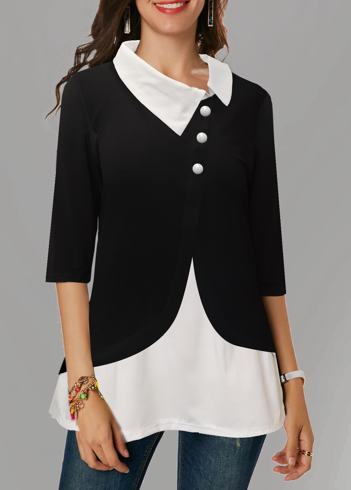 Asymmetric Neckline Three Quarter Sleeve Button Detail Blouse