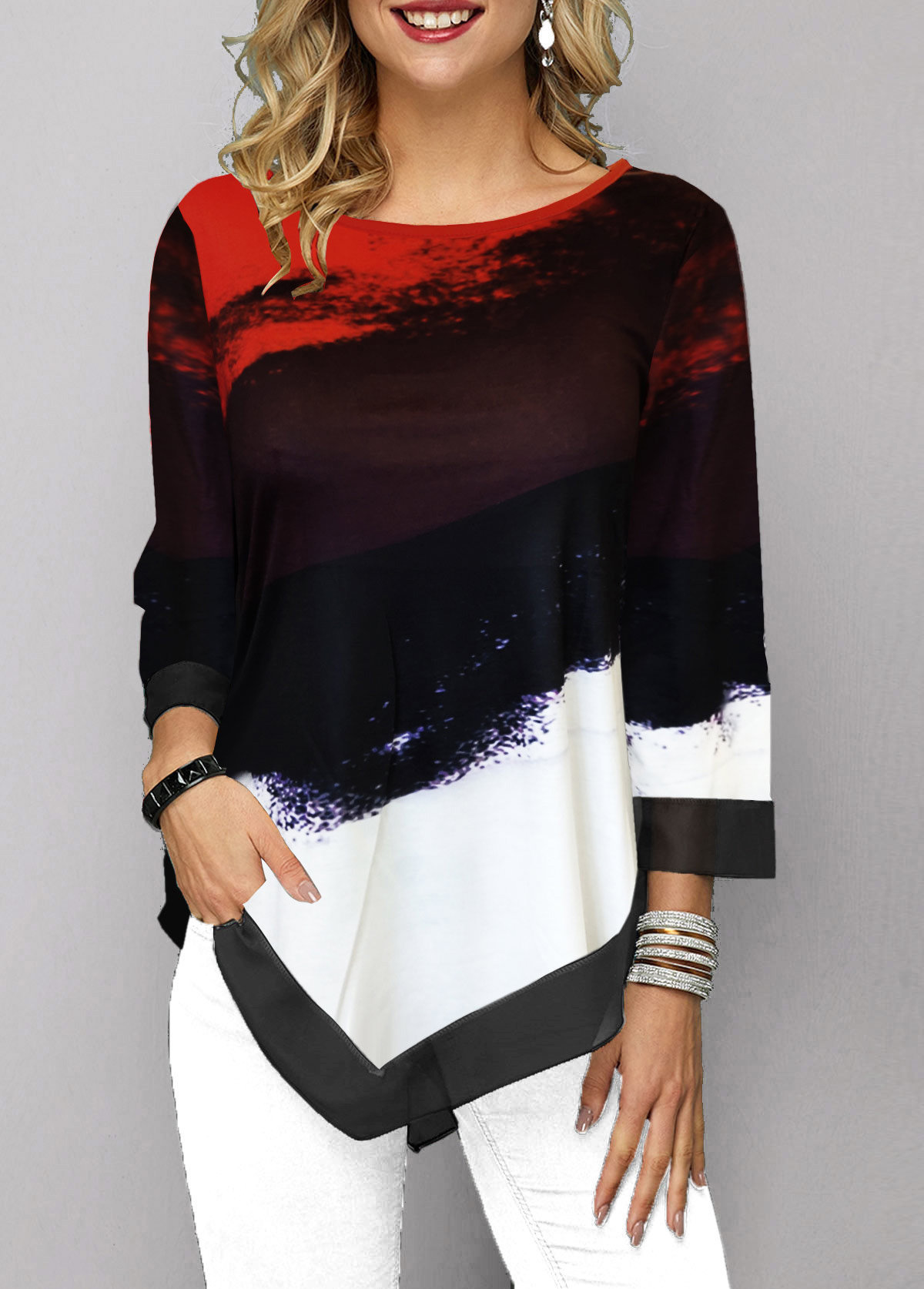 ROTITA Printed Three Quarter Sleeve Asymmetric Hem T Shirt