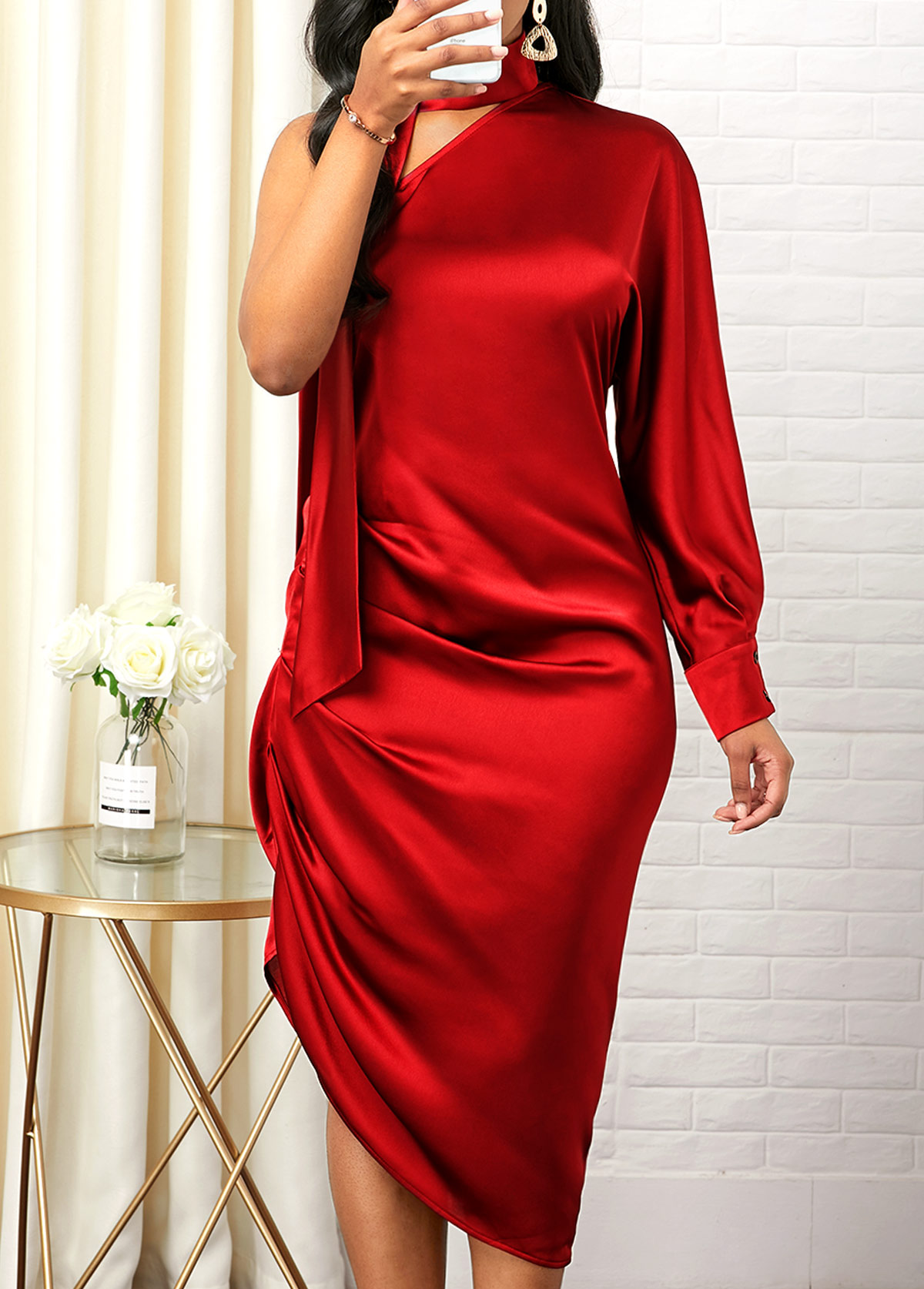 One Shoulder Side Zipper Asymmetric Hem Sheath Dress