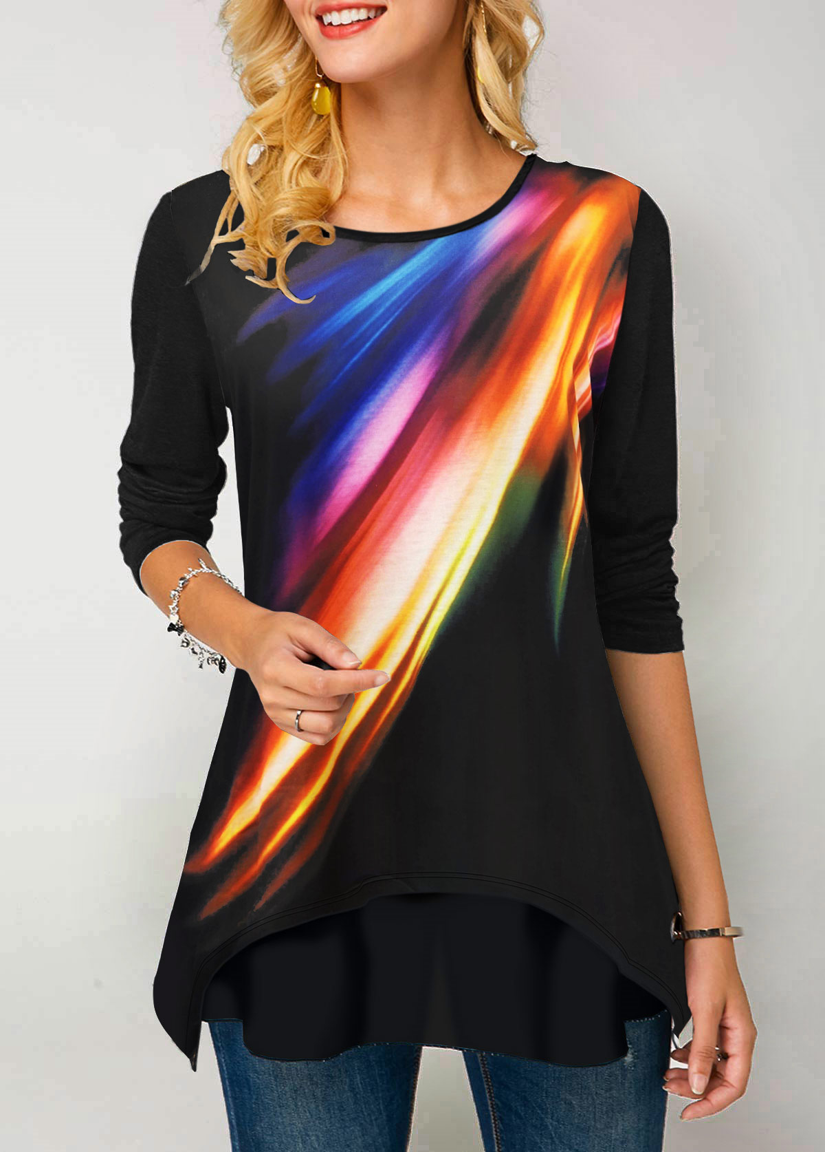 ROTITA Printed Long Sleeve Round Neck Rainbow Color T Shirt
