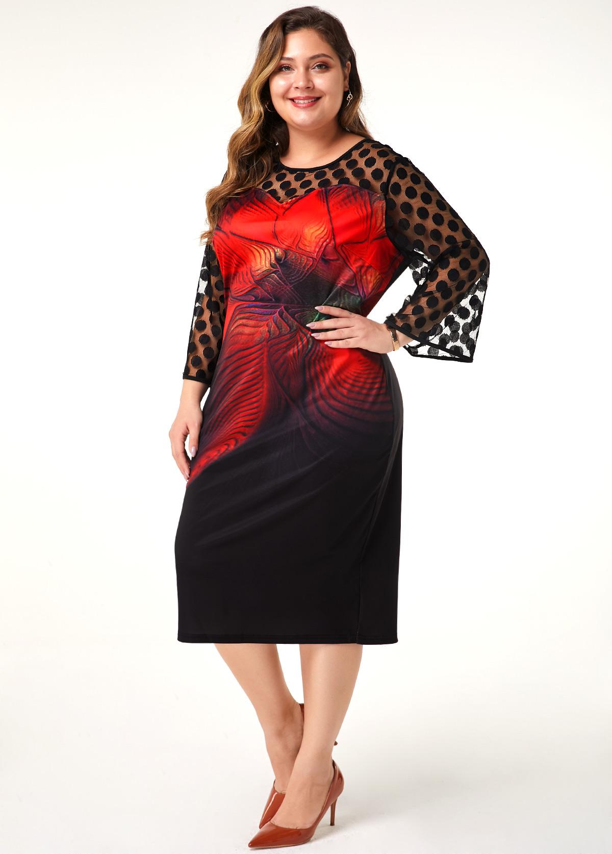 Plus Size Flower Print Dot Mesh Panel Sheath Dress