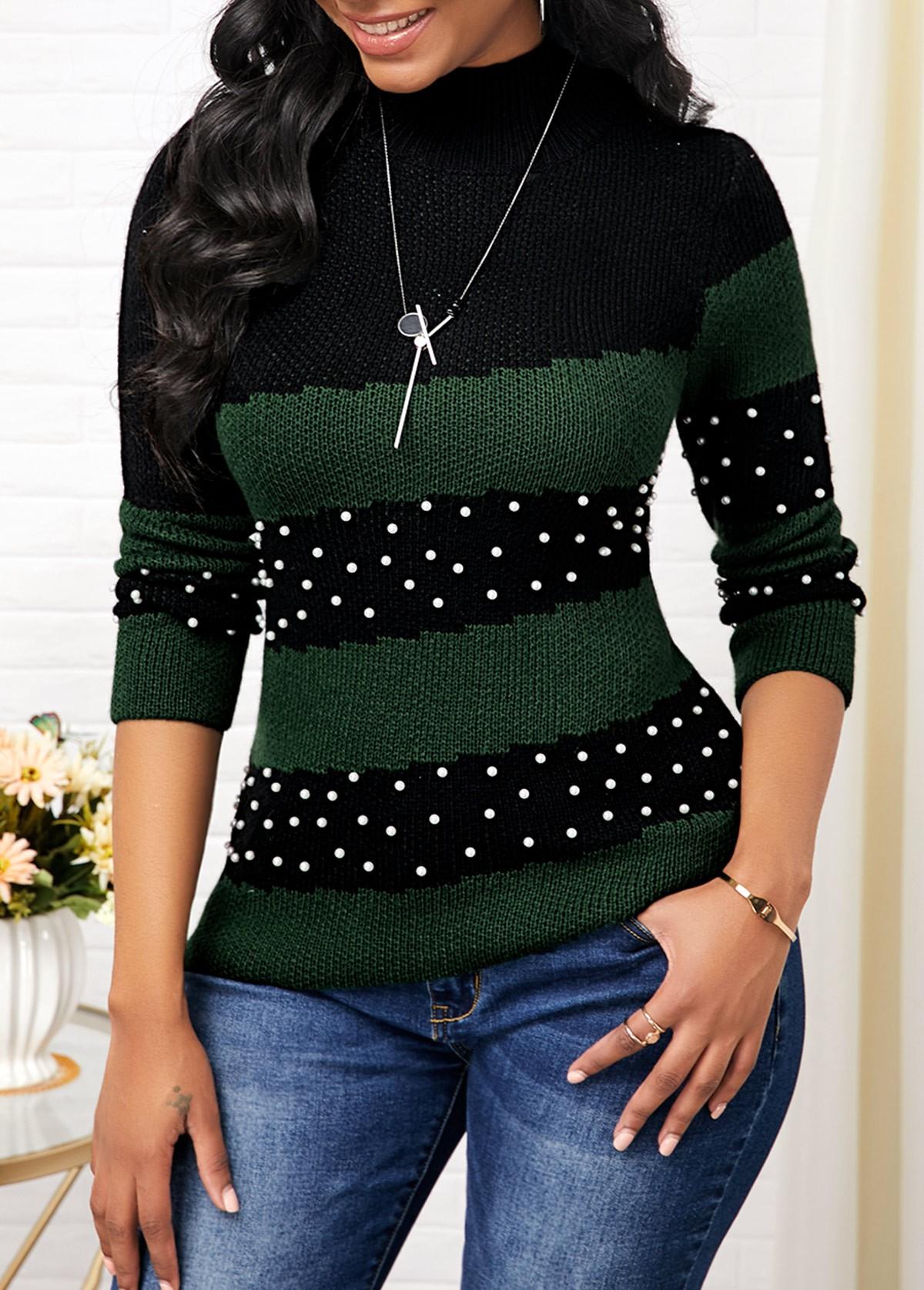 Mock Neck Color Block Bead Embellished Sweater
