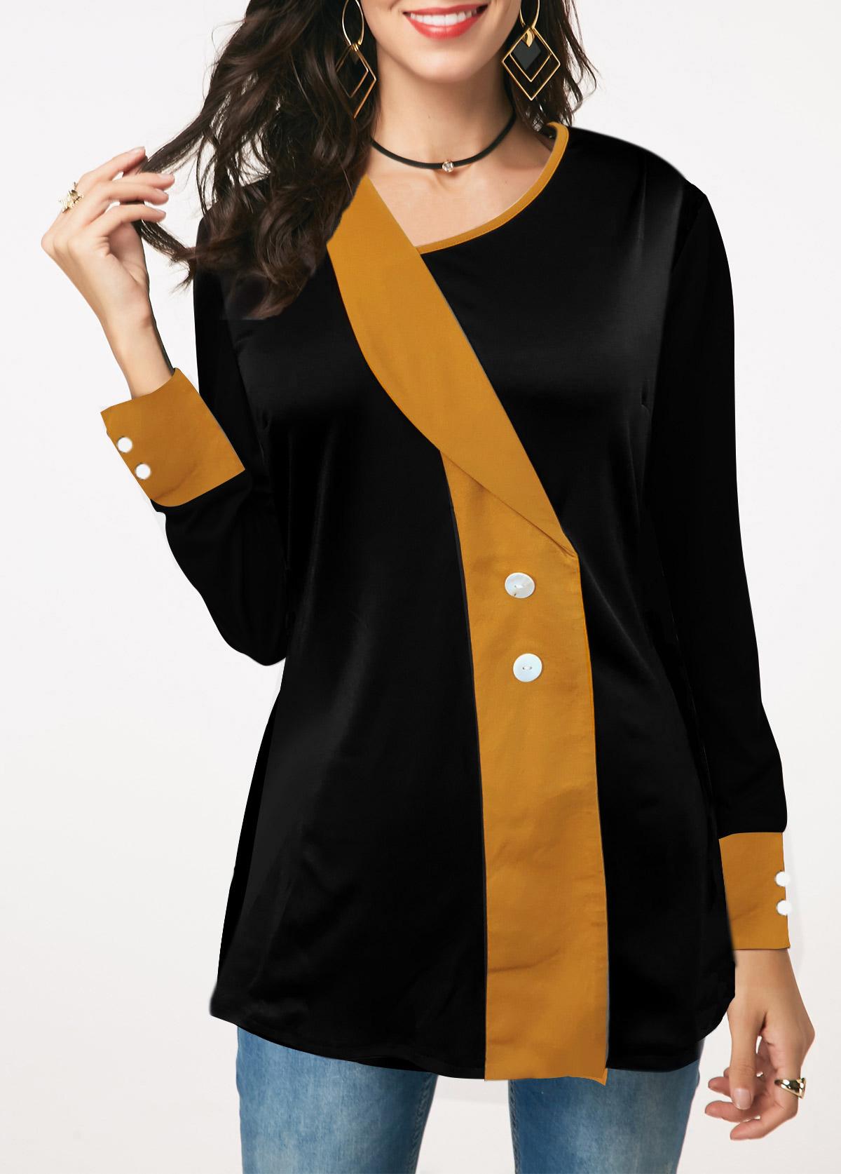 Button Detail Asymmetric Neckline Contrast Panel T Shirt