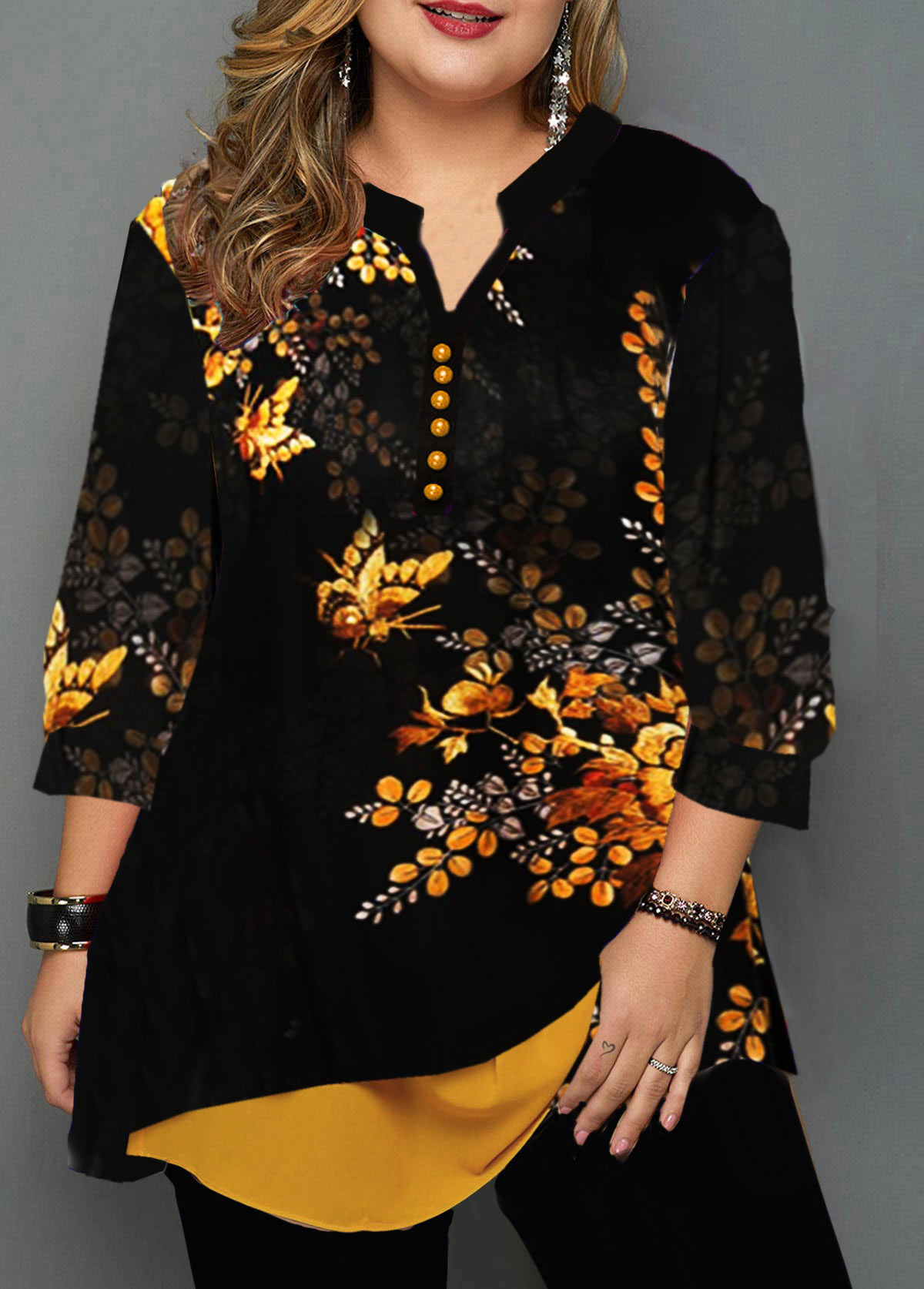 ROTITA Flower Print Layered Hem Plus Size Blouse