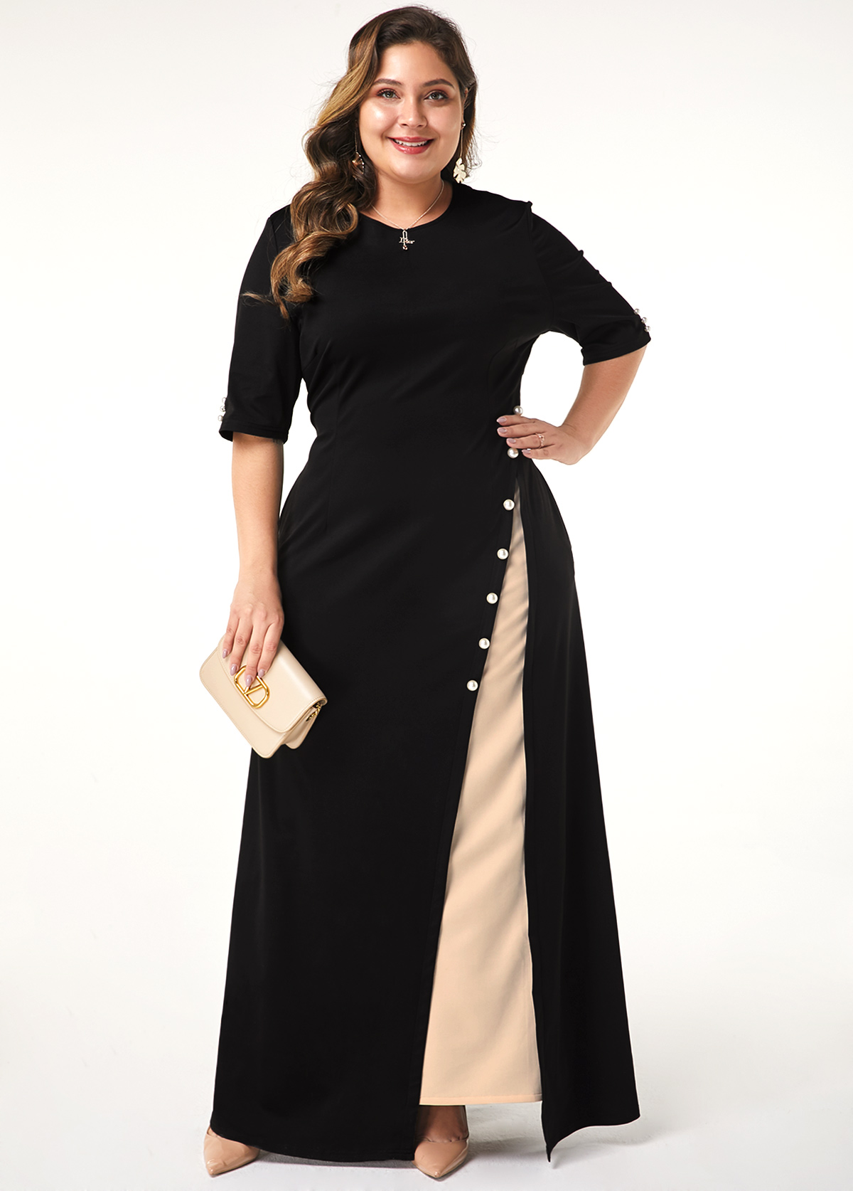 ROTITA Plus Size Half Sleeve Button Detail Maxi Dress