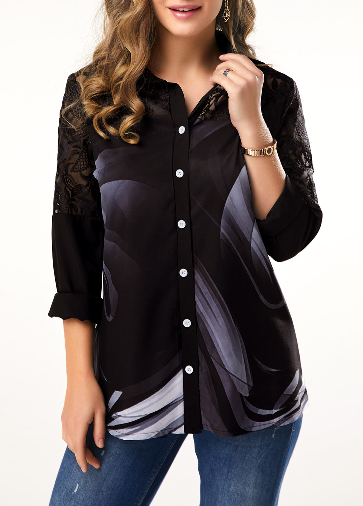 Button Detail Lace Patchwork Turndown Collar Blouse