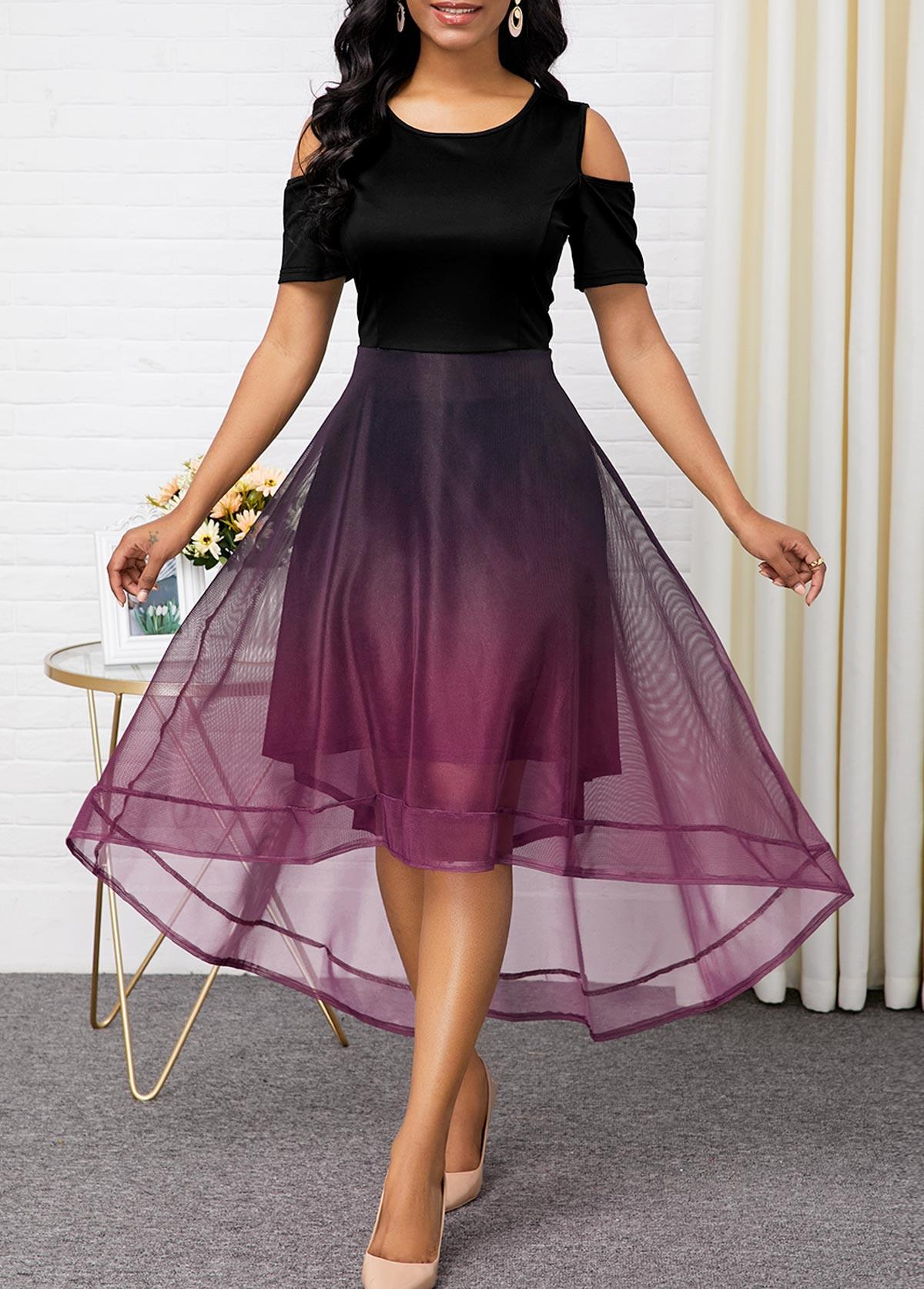High Low Color Block Cold Shoulder Maxi Dress