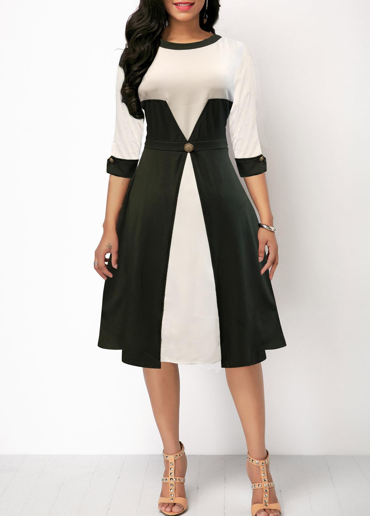 High Waist Color Block Three Quarter Sleeve Dress