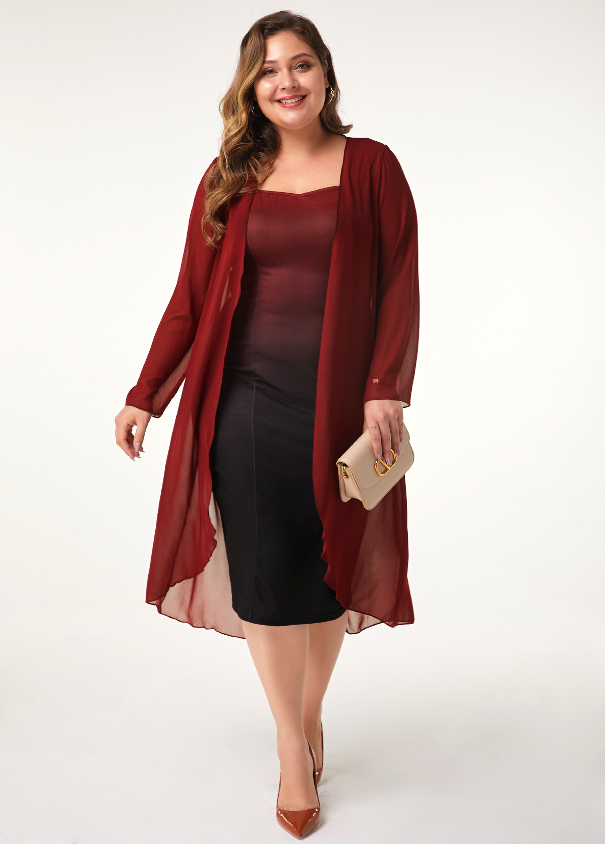 ROTITA Chiffon Cardigan and Sleeveless Plus Size Dress
